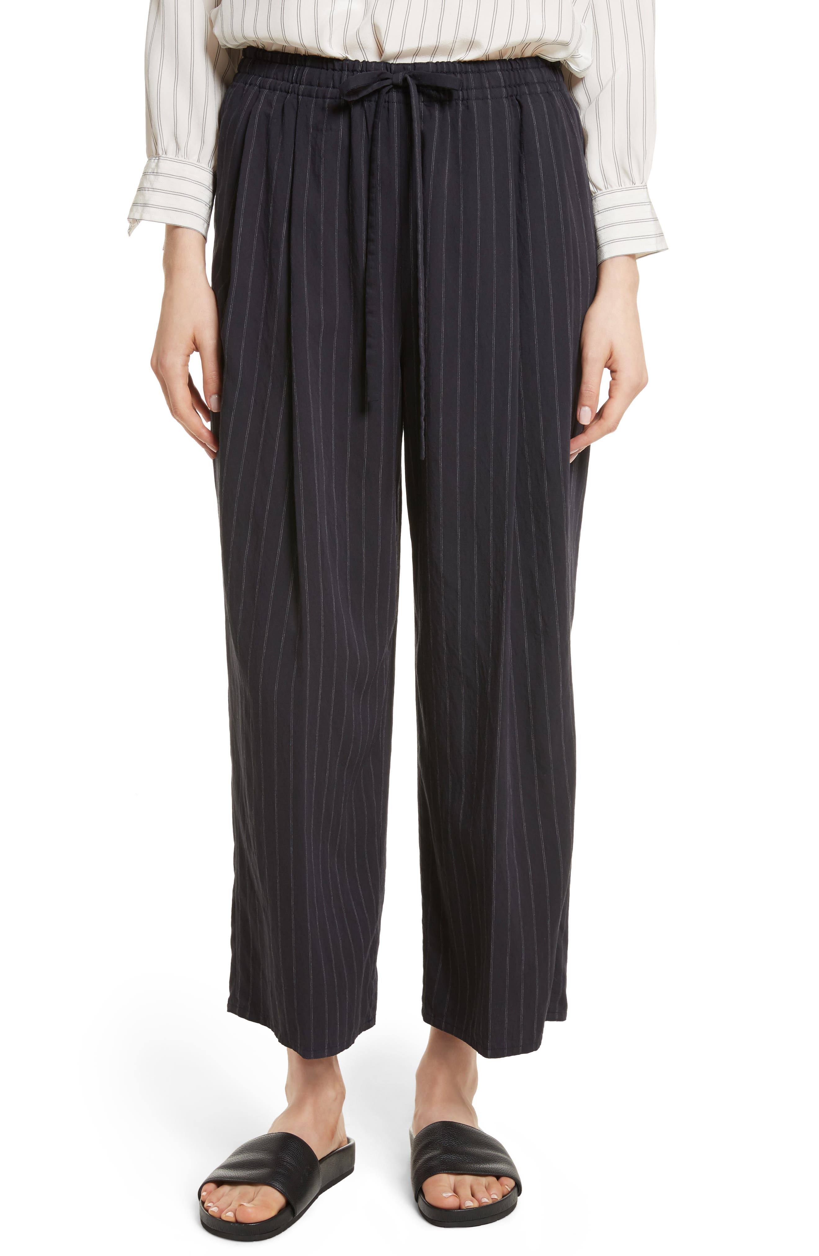 Striped Drawstring Cropped Pants,                             Main thumbnail 1, color,                             403