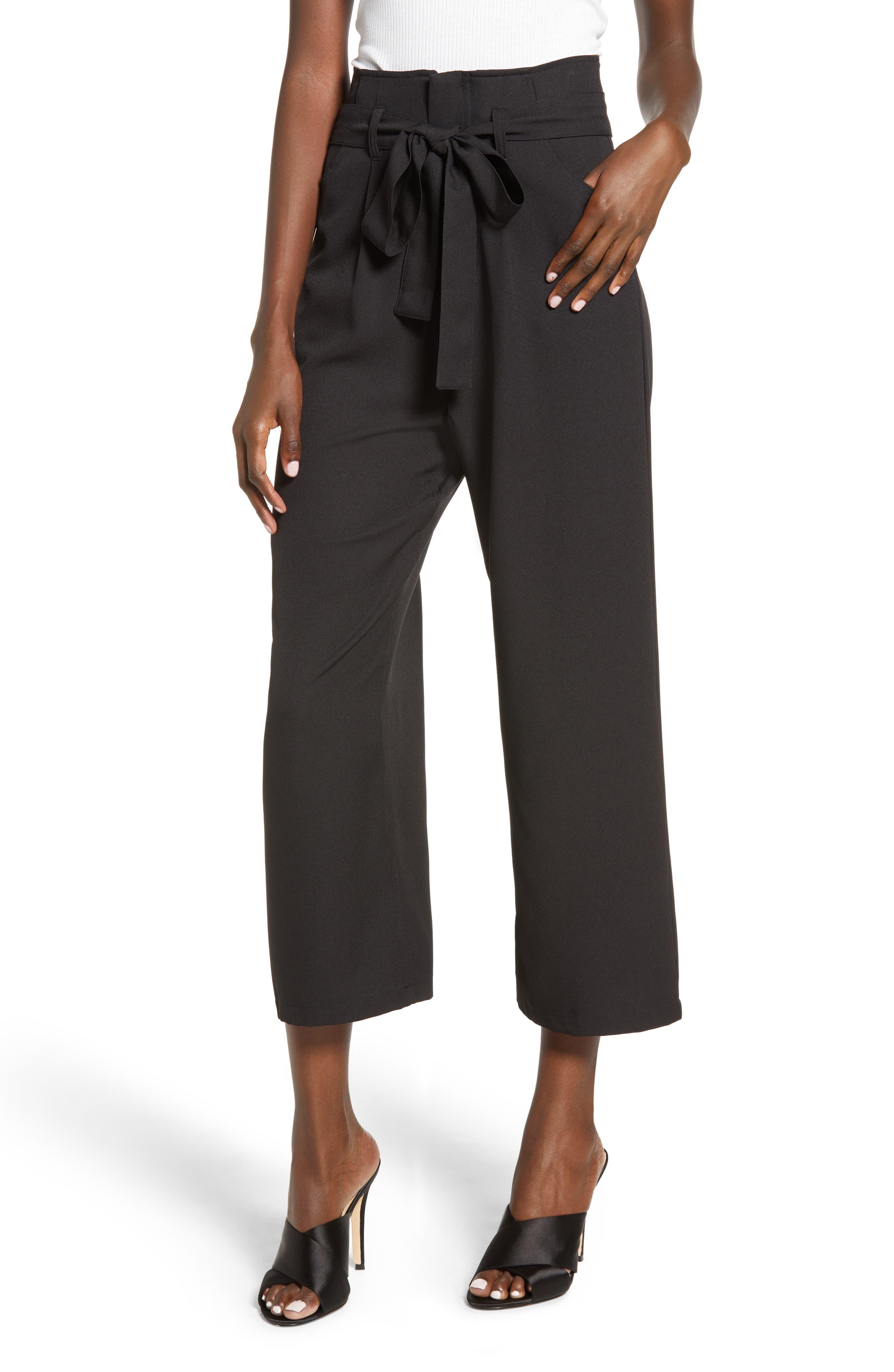 Tie Waist Crop Pants,                             Main thumbnail 1, color,                             001