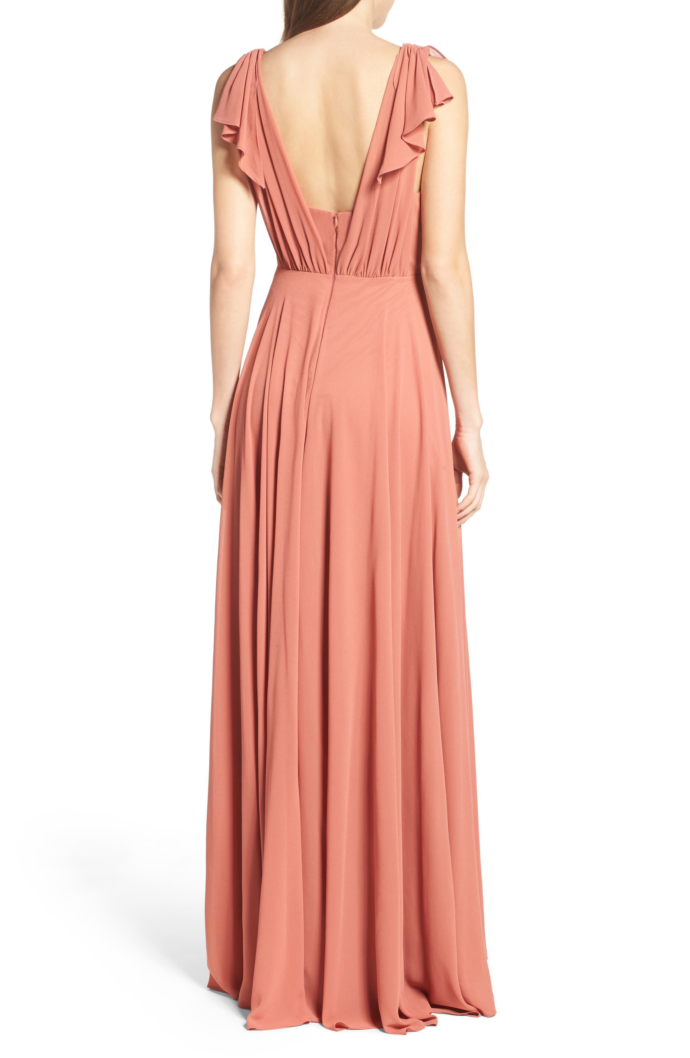 Flutter Sleeve Chiffon Gown,                             Alternate thumbnail 6, color,
