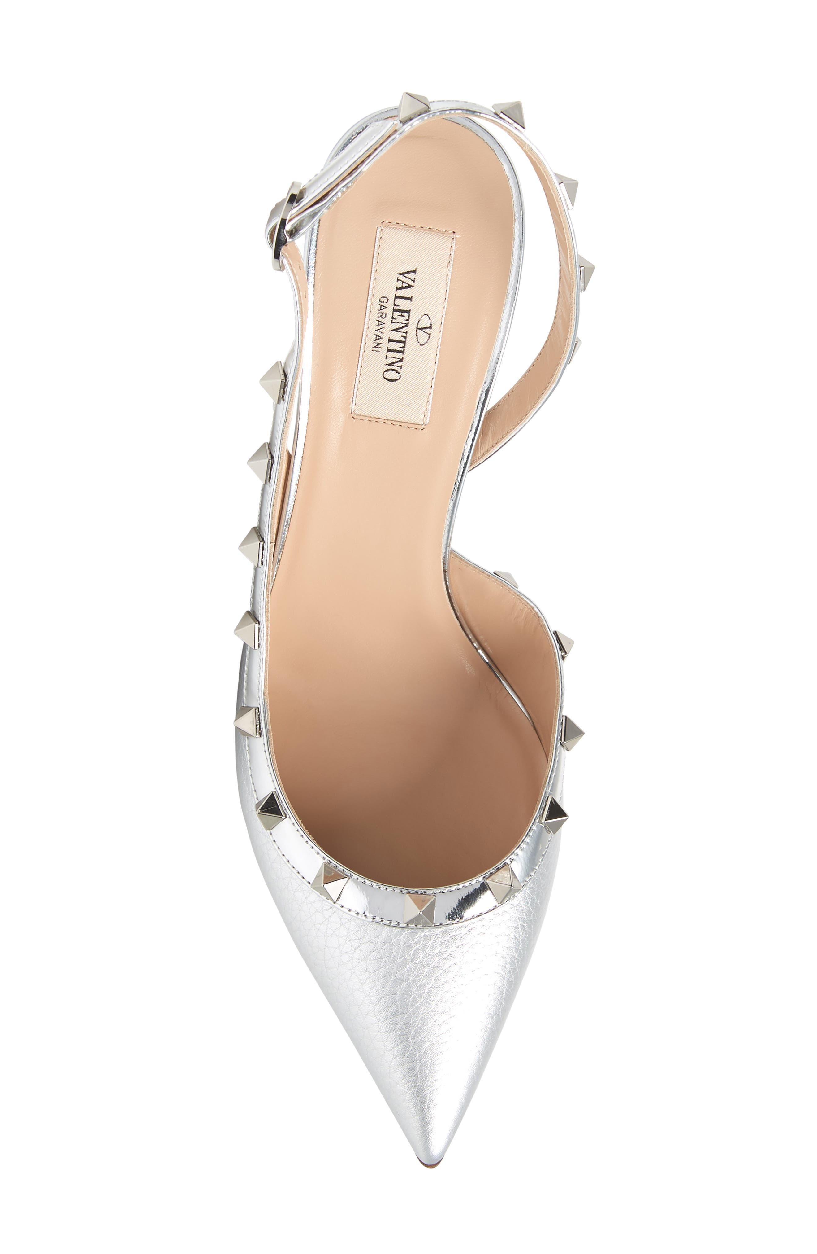 Rockstud Slingback Pump,                             Alternate thumbnail 5, color,                             SILVER