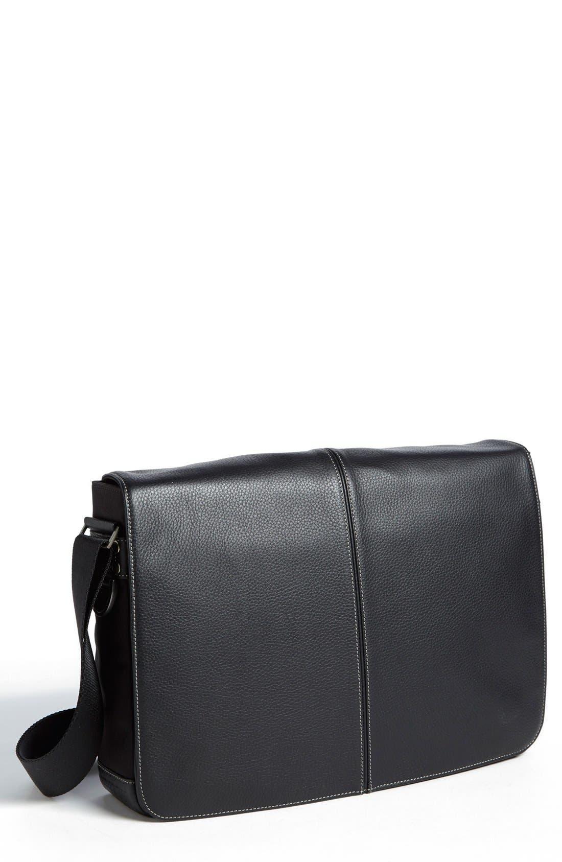 Tyler Slim Leather Laptop Briefcase,                         Main,                         color, BLACK/ KHAKI
