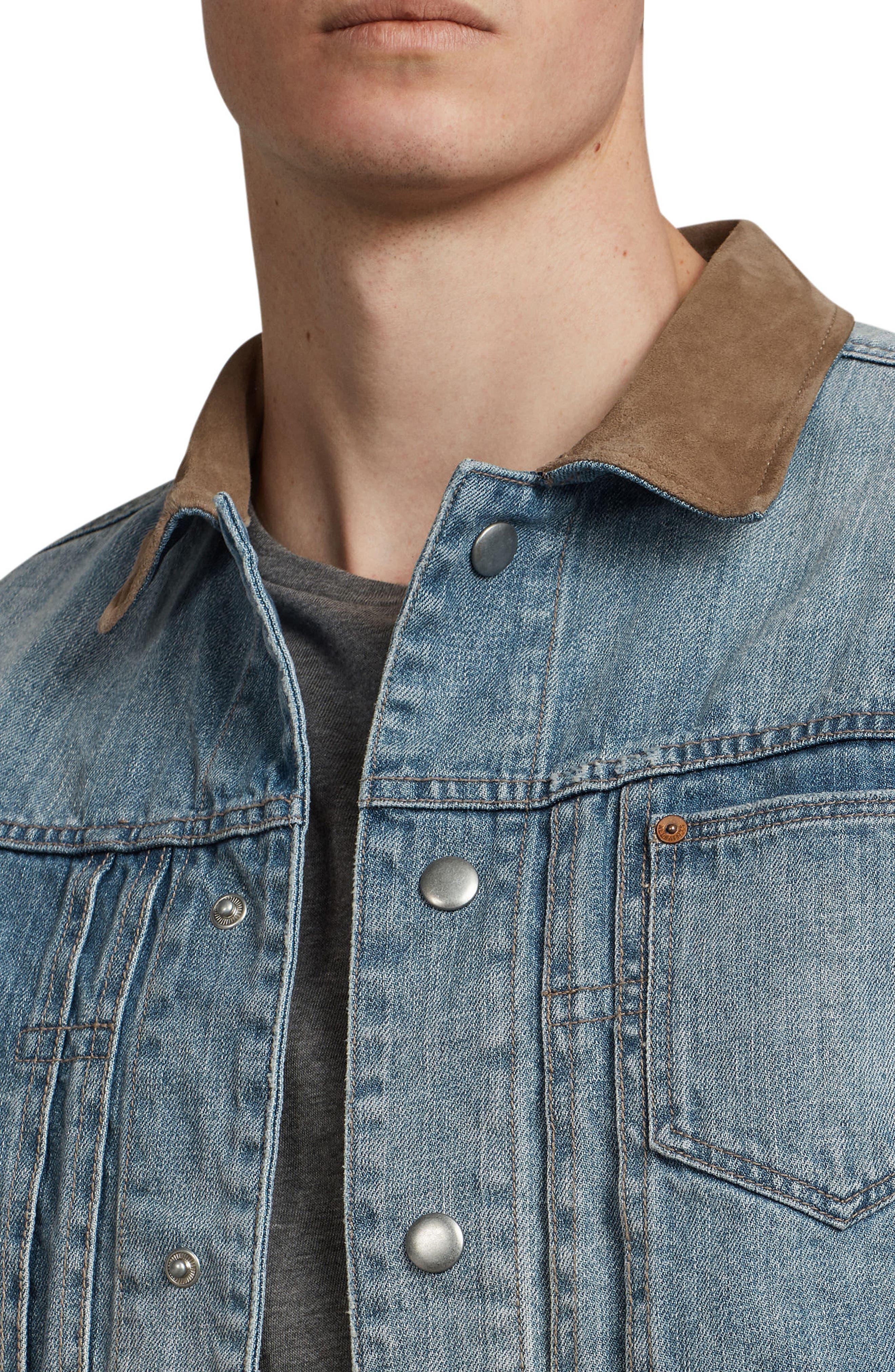 Ibanex Slim Fit Distressed Denim Jacket,                             Alternate thumbnail 4, color,                             460