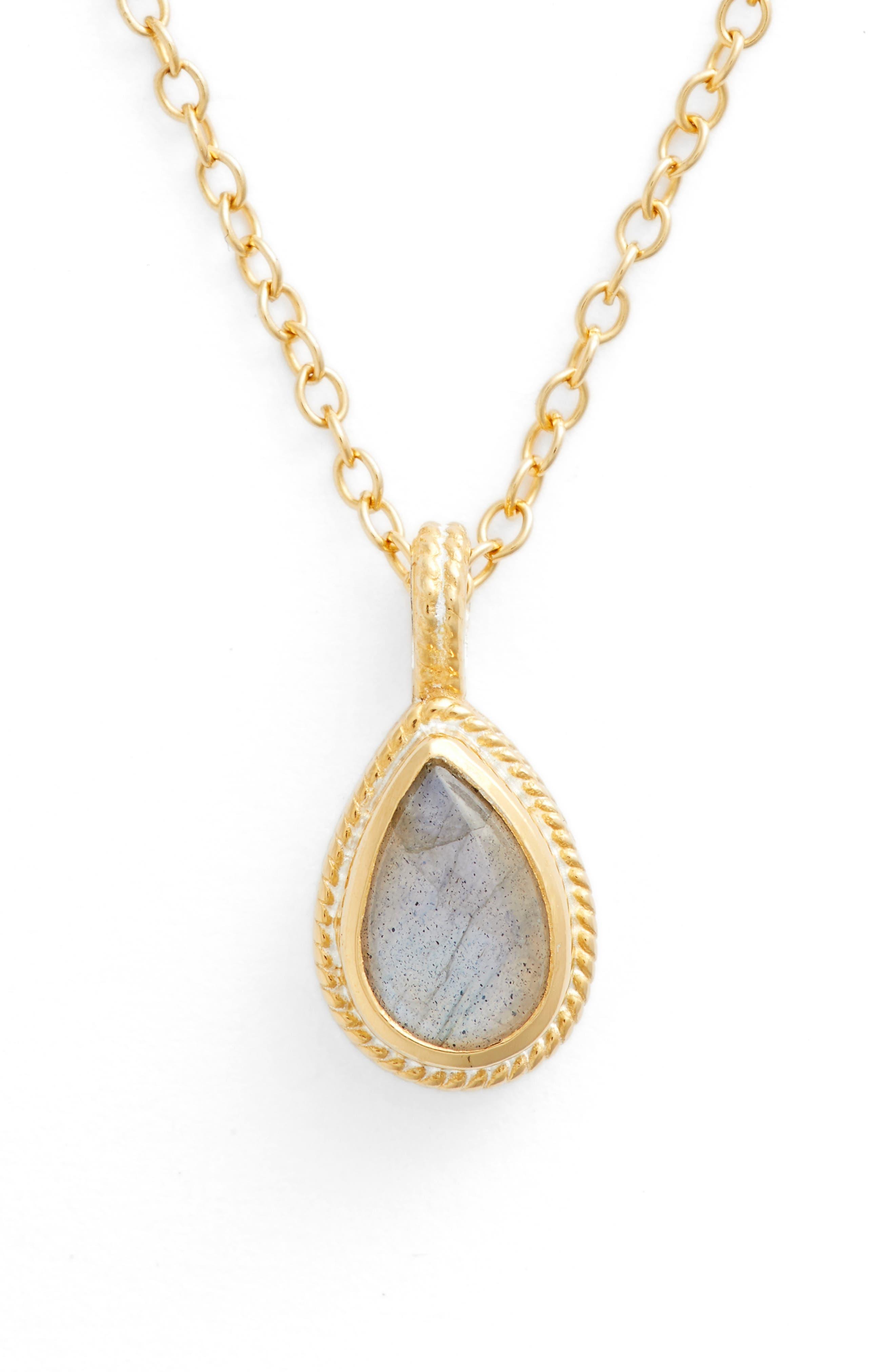 Semiprecious Stone Pendant Necklace,                             Main thumbnail 1, color,                             GOLD/ LABRADORITE