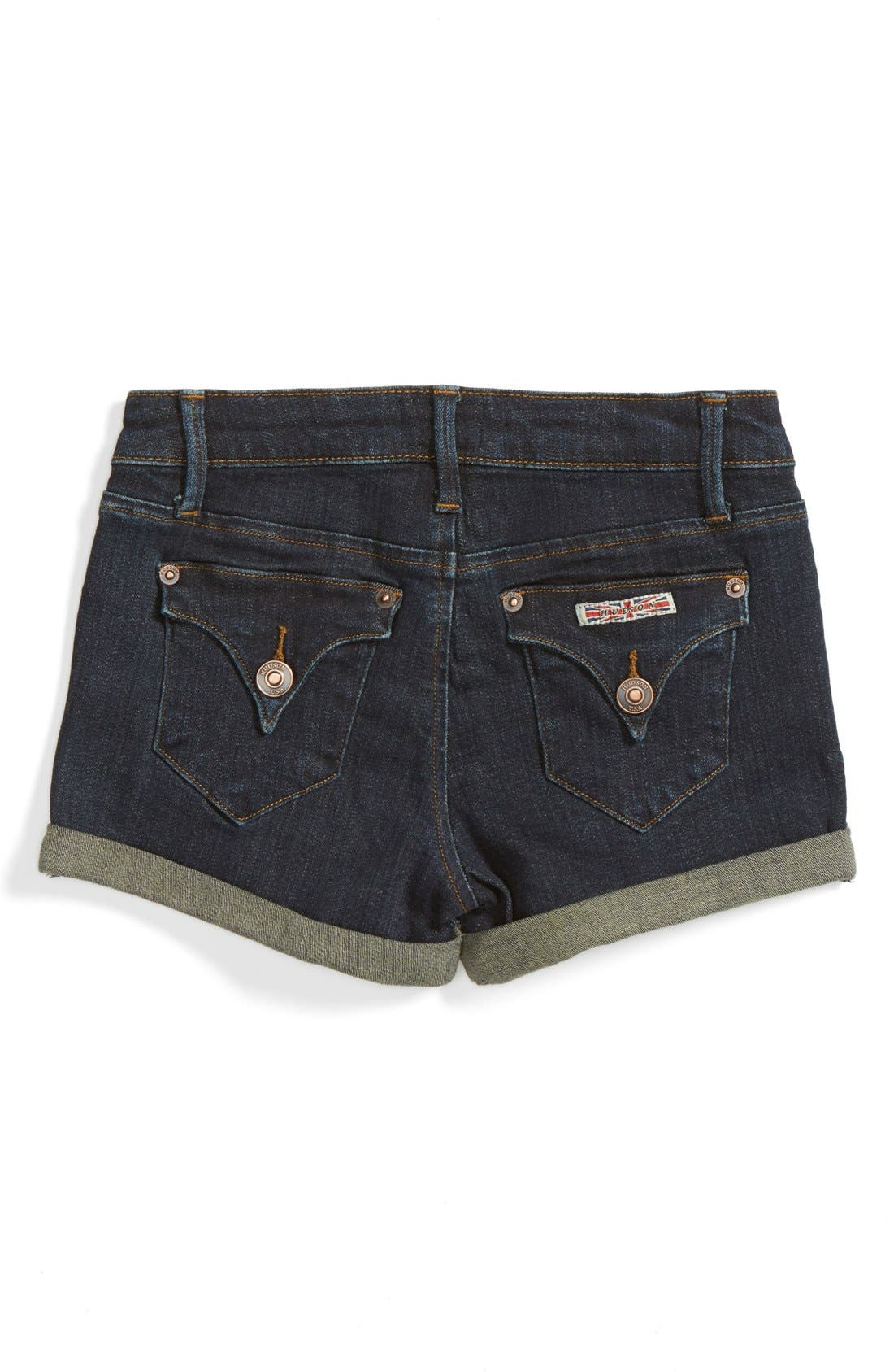 Roll Cuff Denim Shorts,                             Alternate thumbnail 6, color,