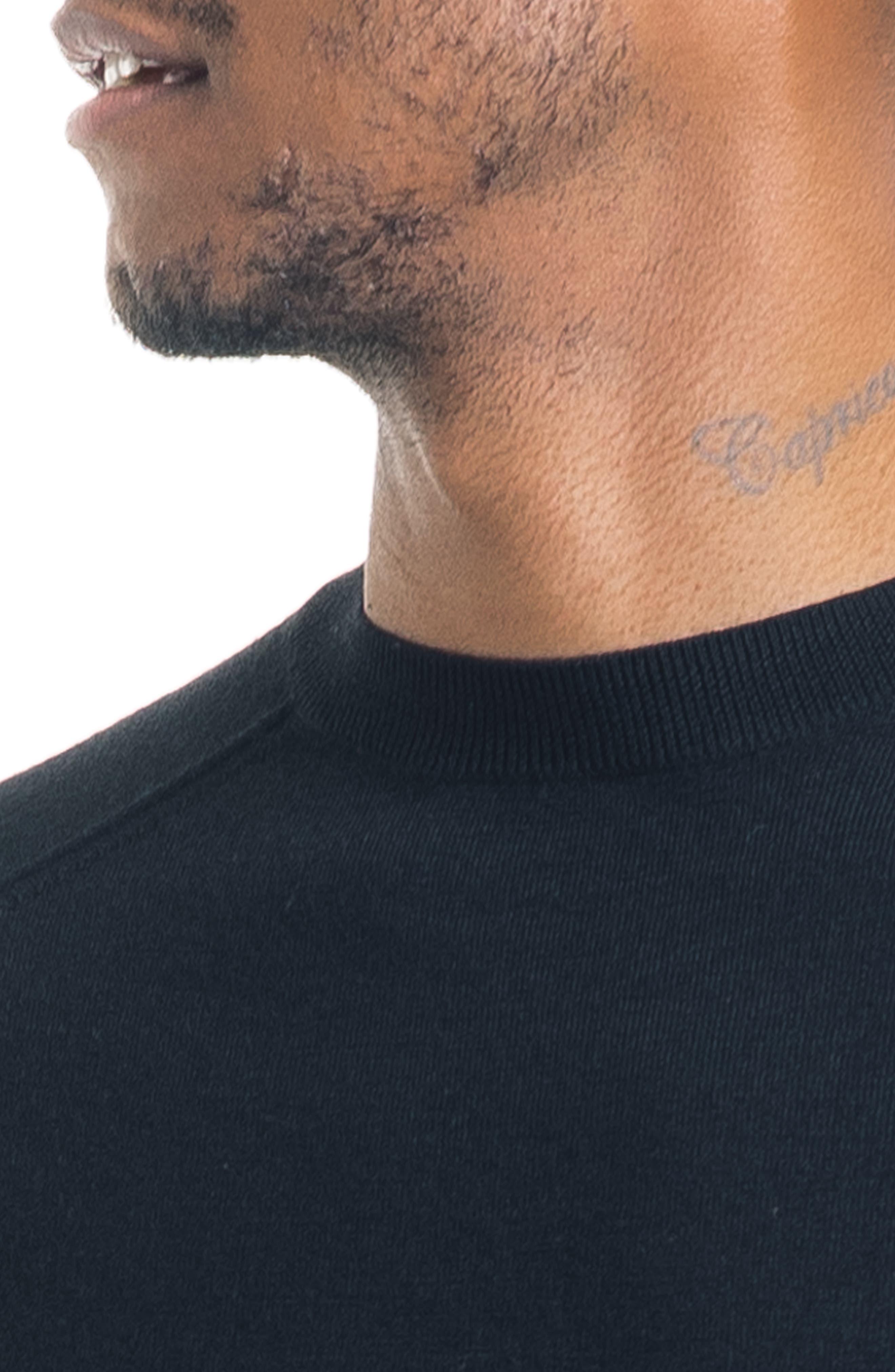 Modern Slim Fit Merino Wool Sweater,                             Alternate thumbnail 4, color,                             BLACK