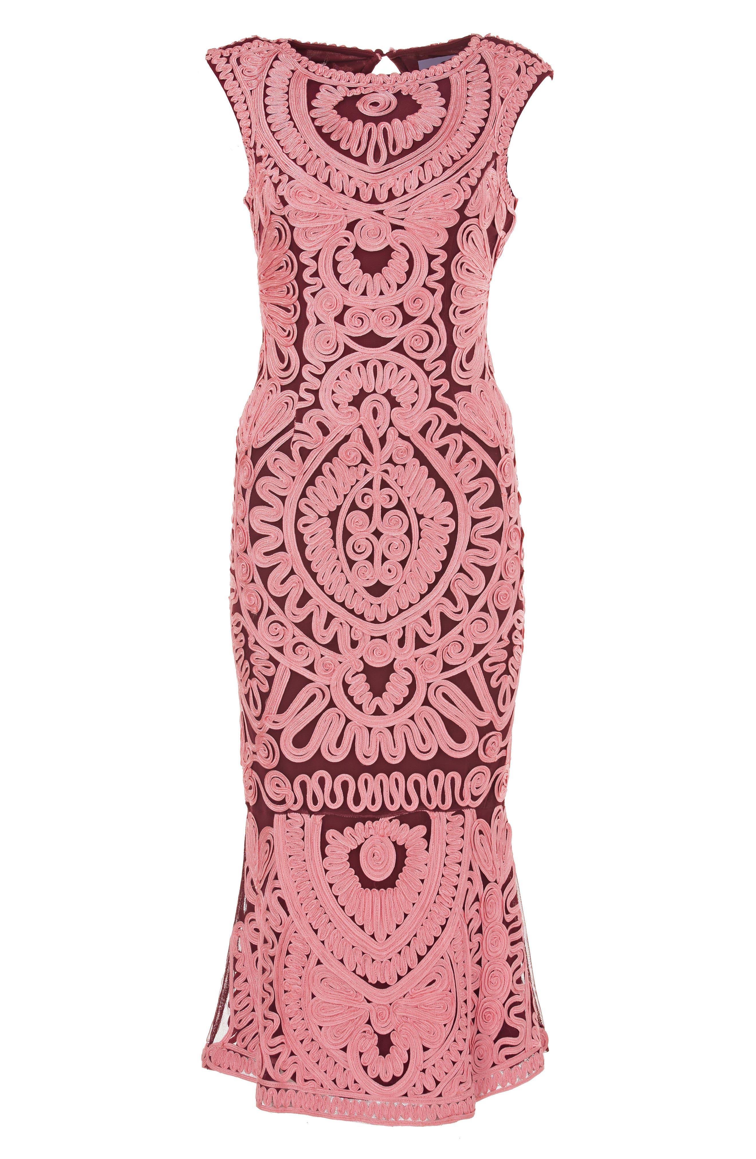 Soutache Mesh Dress,                             Alternate thumbnail 3, color,                             PINK/ WINE