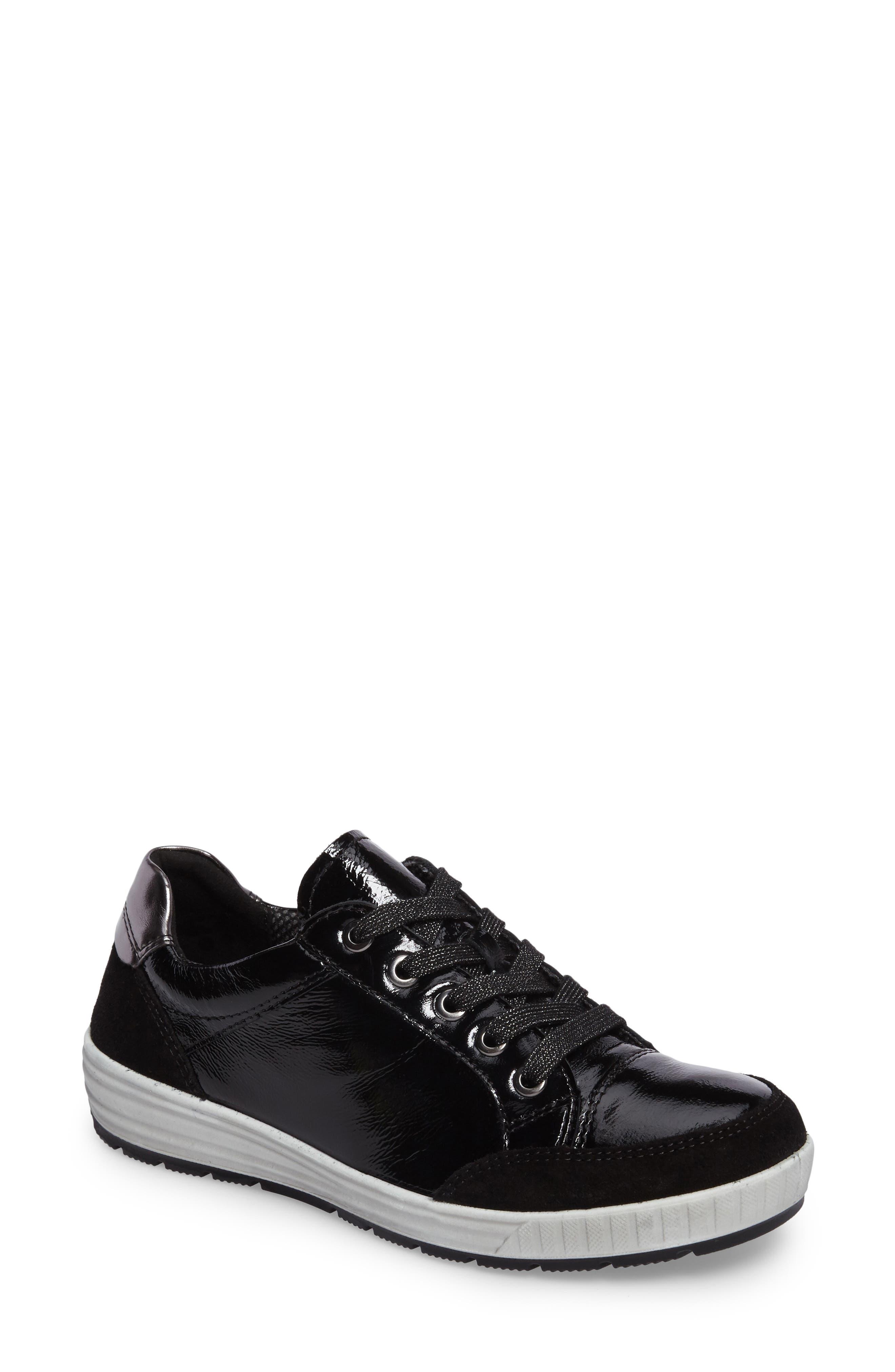 Nicole Sneaker,                         Main,                         color, BLACK LEATHER