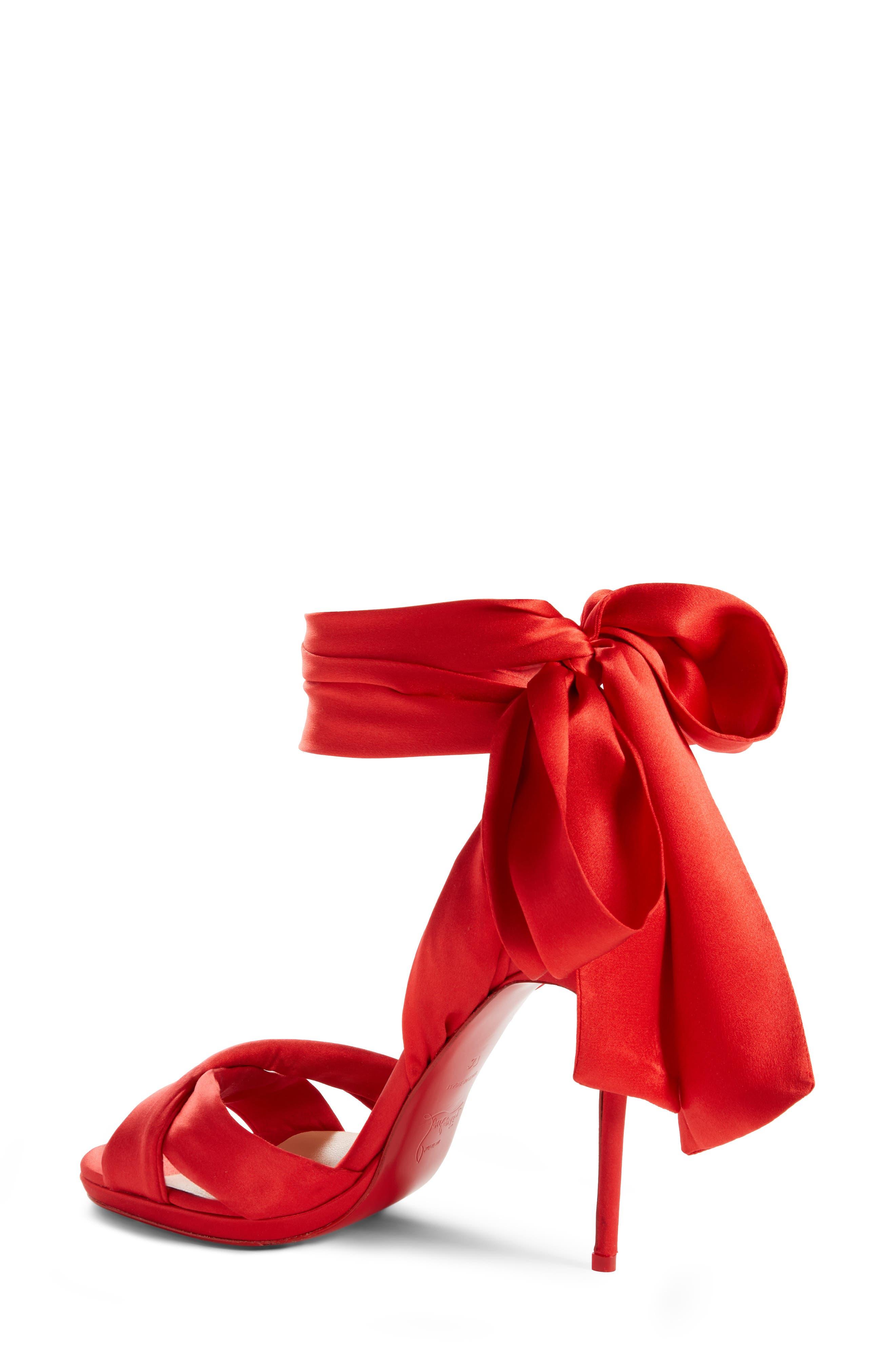 Très Frais Ankle Wrap Sandal,                             Alternate thumbnail 2, color,                             RED