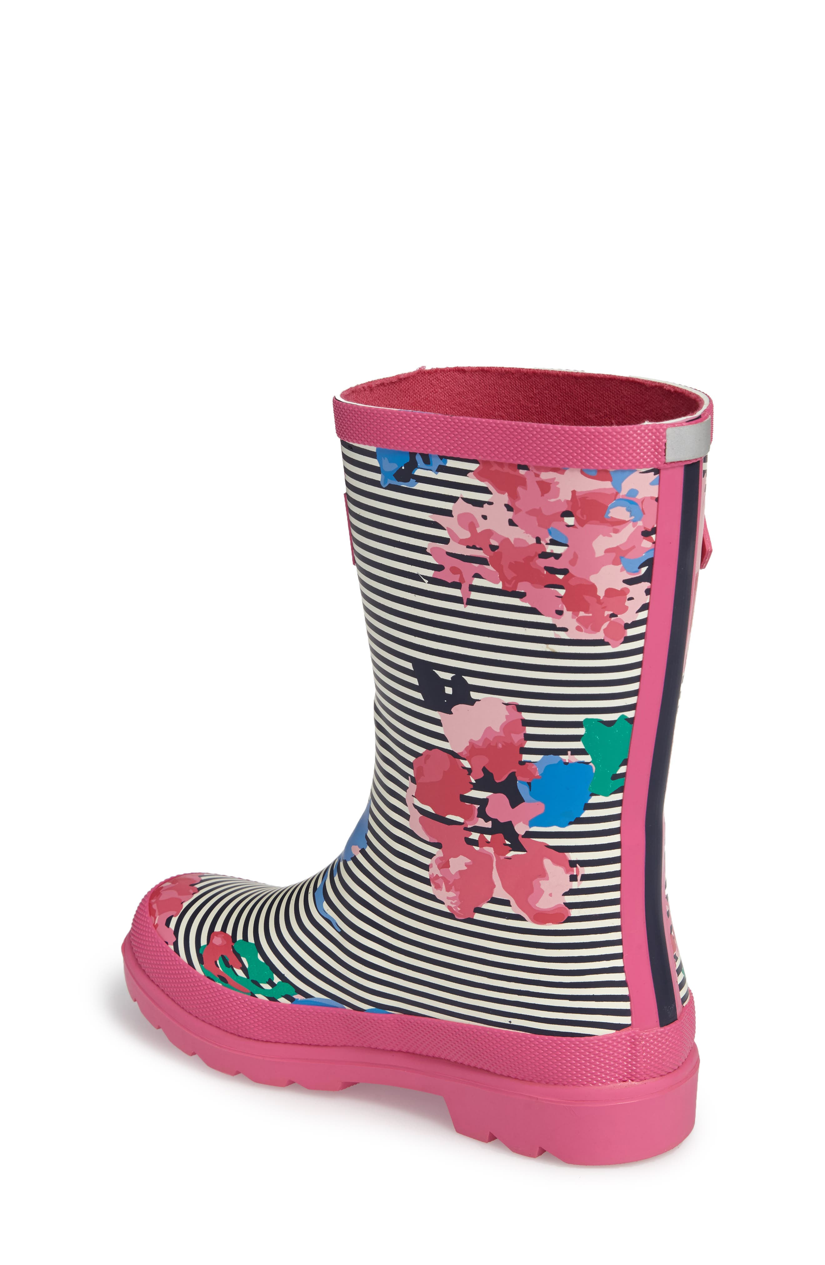 Welly Printed Waterproof Rain Boot,                             Alternate thumbnail 2, color,                             PINK STRIPE FLORAL