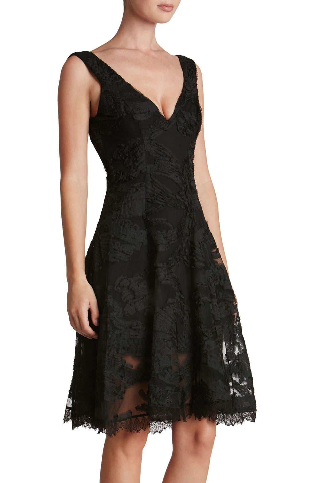Maya Woven Fit & Flare Dress,                             Alternate thumbnail 3, color,                             001