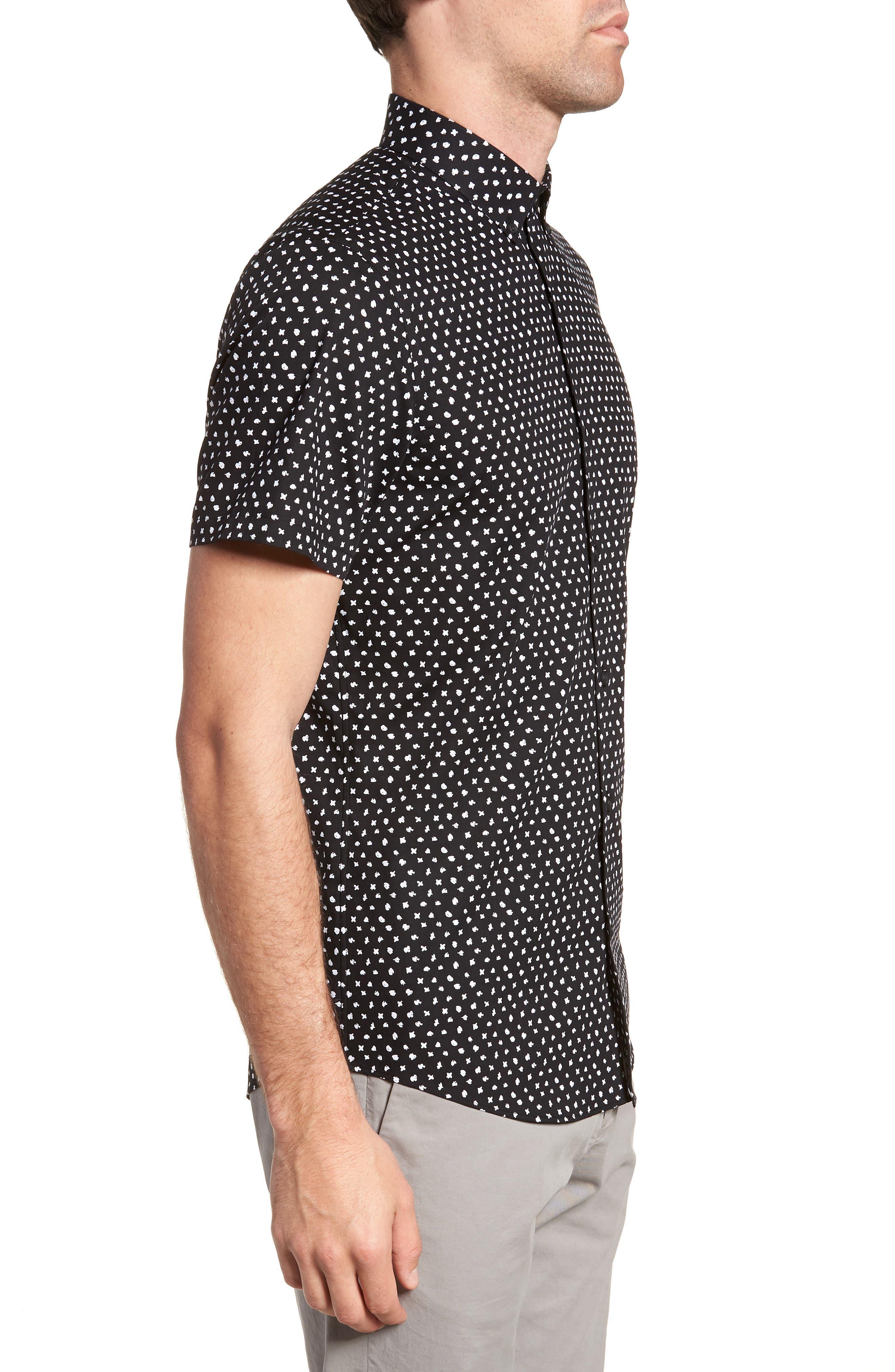 CALIBRATE,                             Trim Fit Dot Print Sport Shirt,                             Alternate thumbnail 3, color,                             001