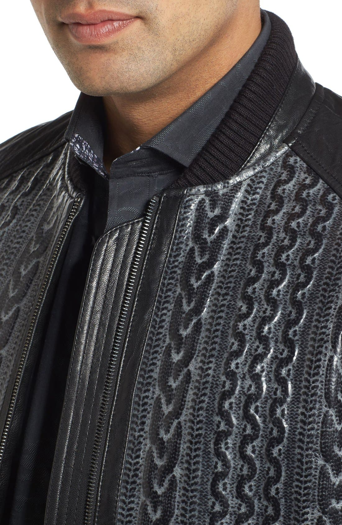 ROBERT GRAHAM,                             Romulus Goatskin Leather Jacket,                             Alternate thumbnail 4, color,                             001
