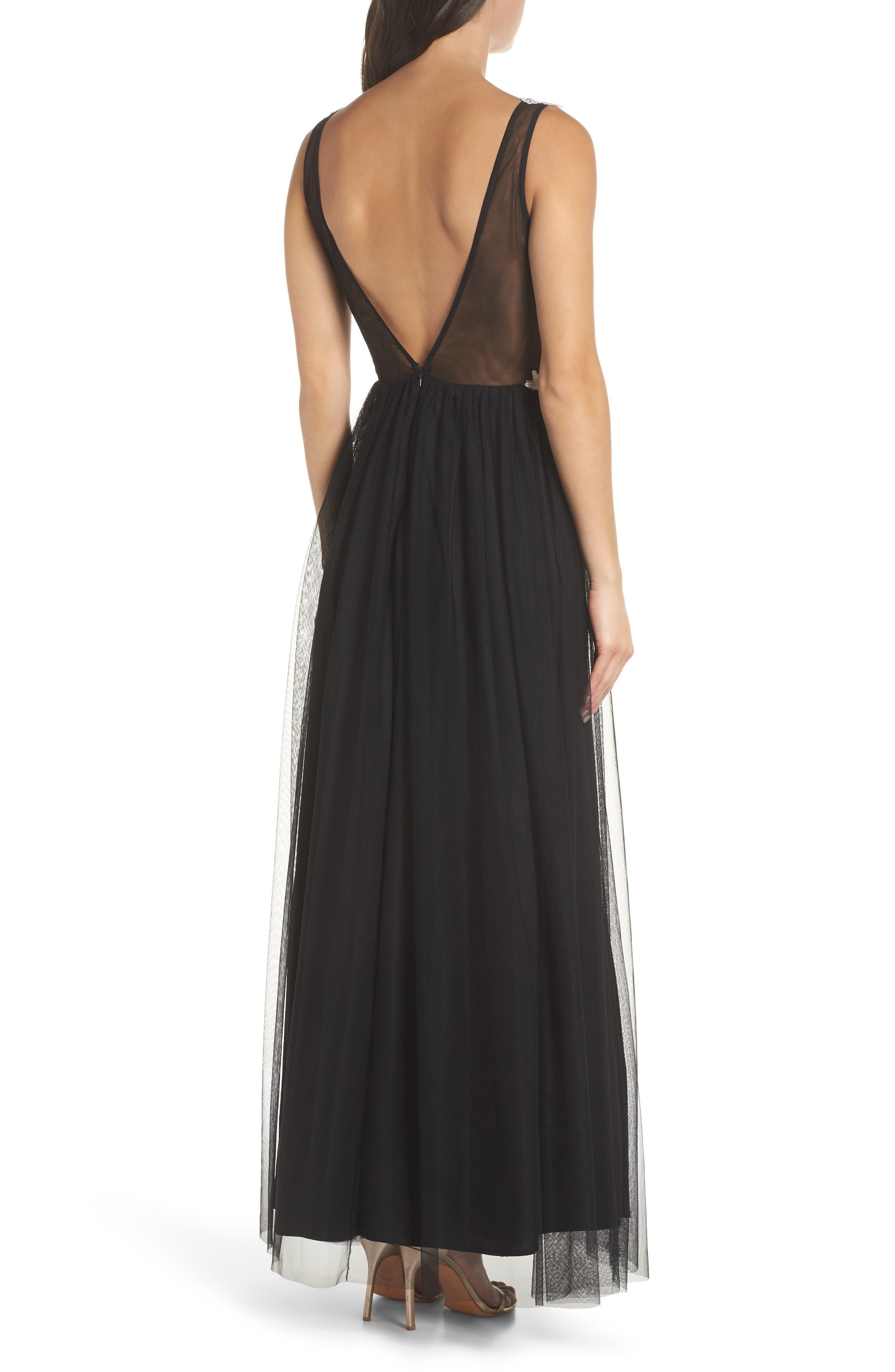 Floral Appliqué V-Neck Gown,                             Alternate thumbnail 2, color,                             BLACK/ WHITE