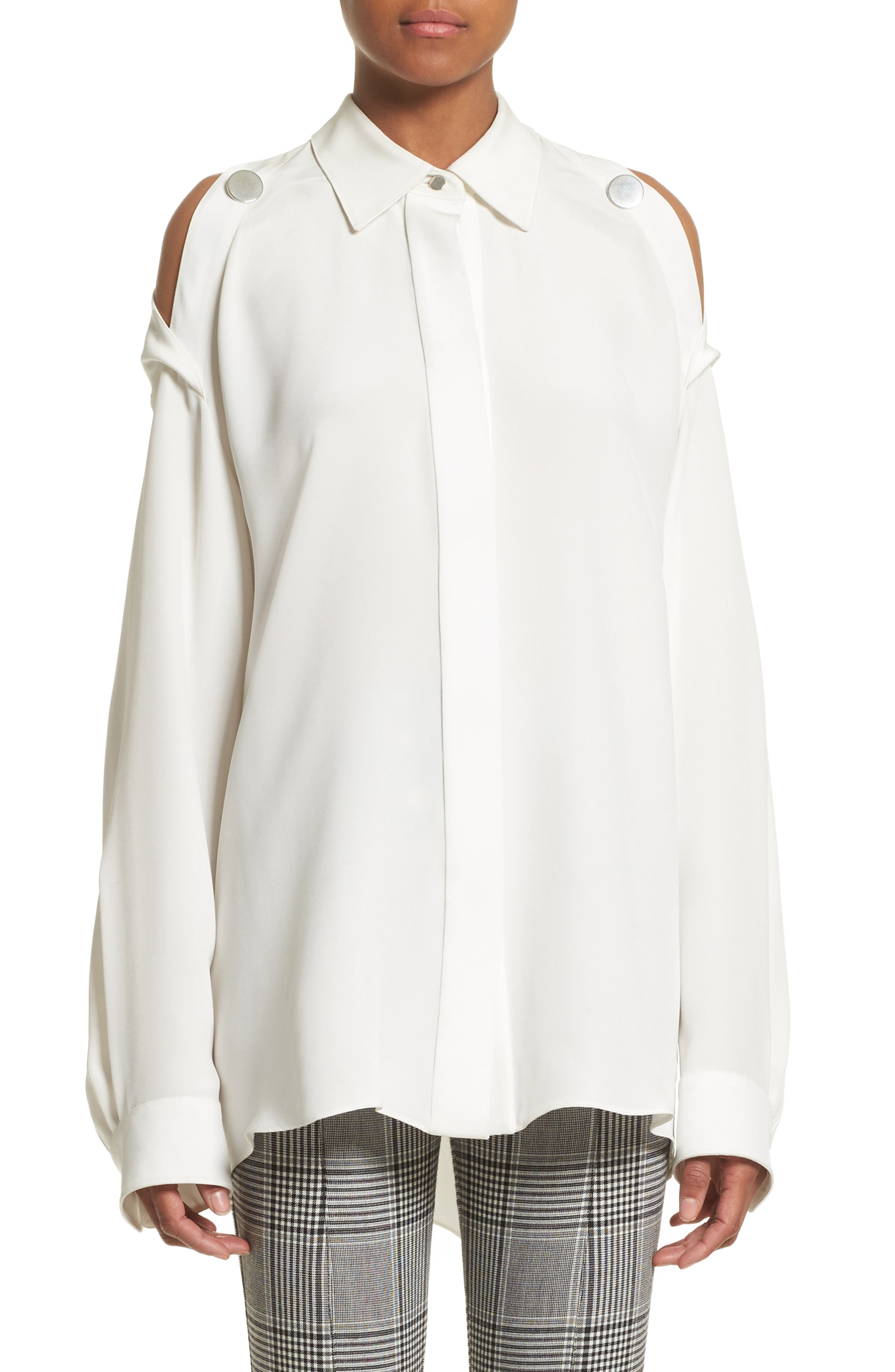 Open Back Silk Blouse,                         Main,                         color, 900