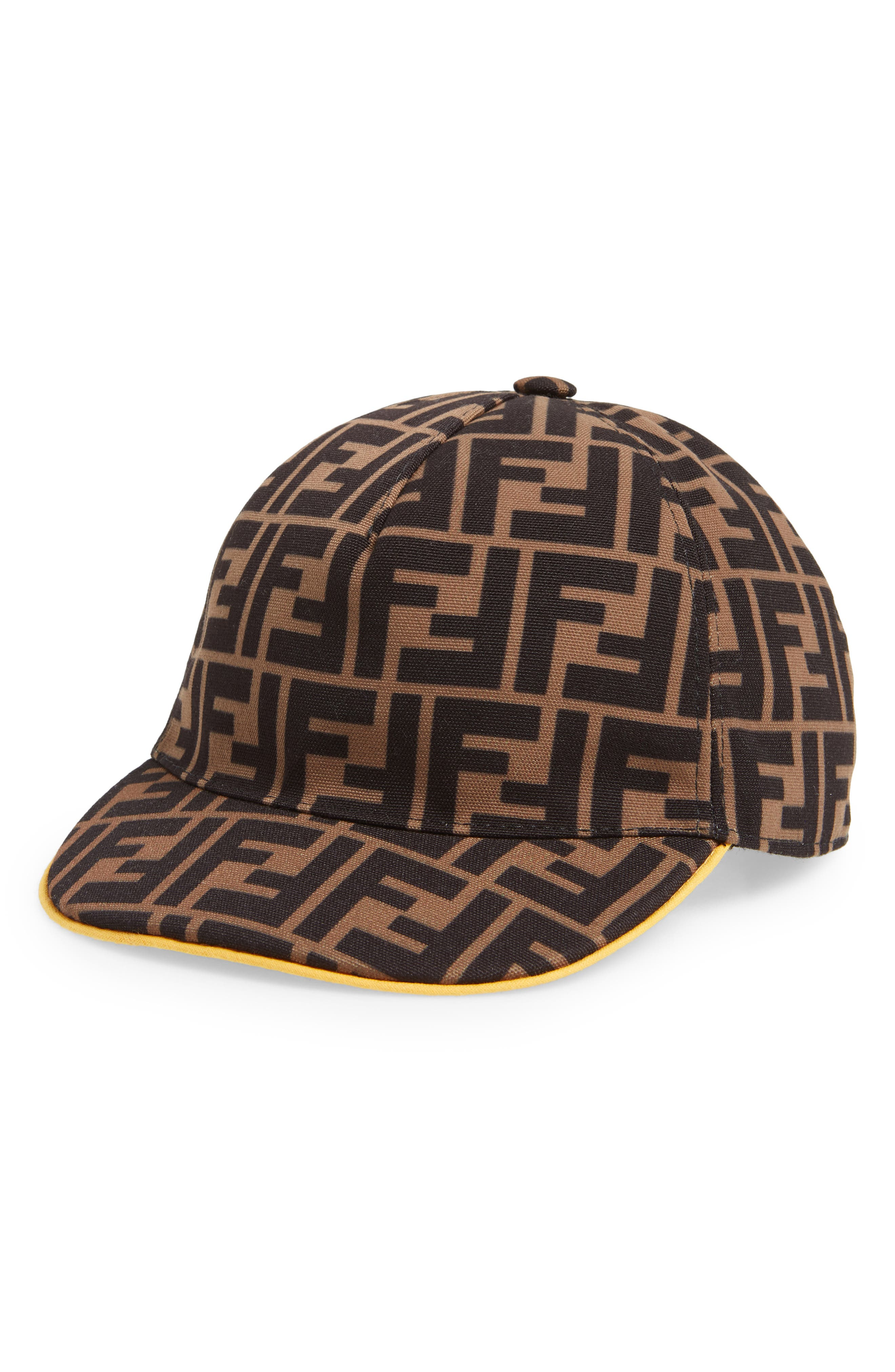 Toddler Fendi Logo Print Cap  Brown