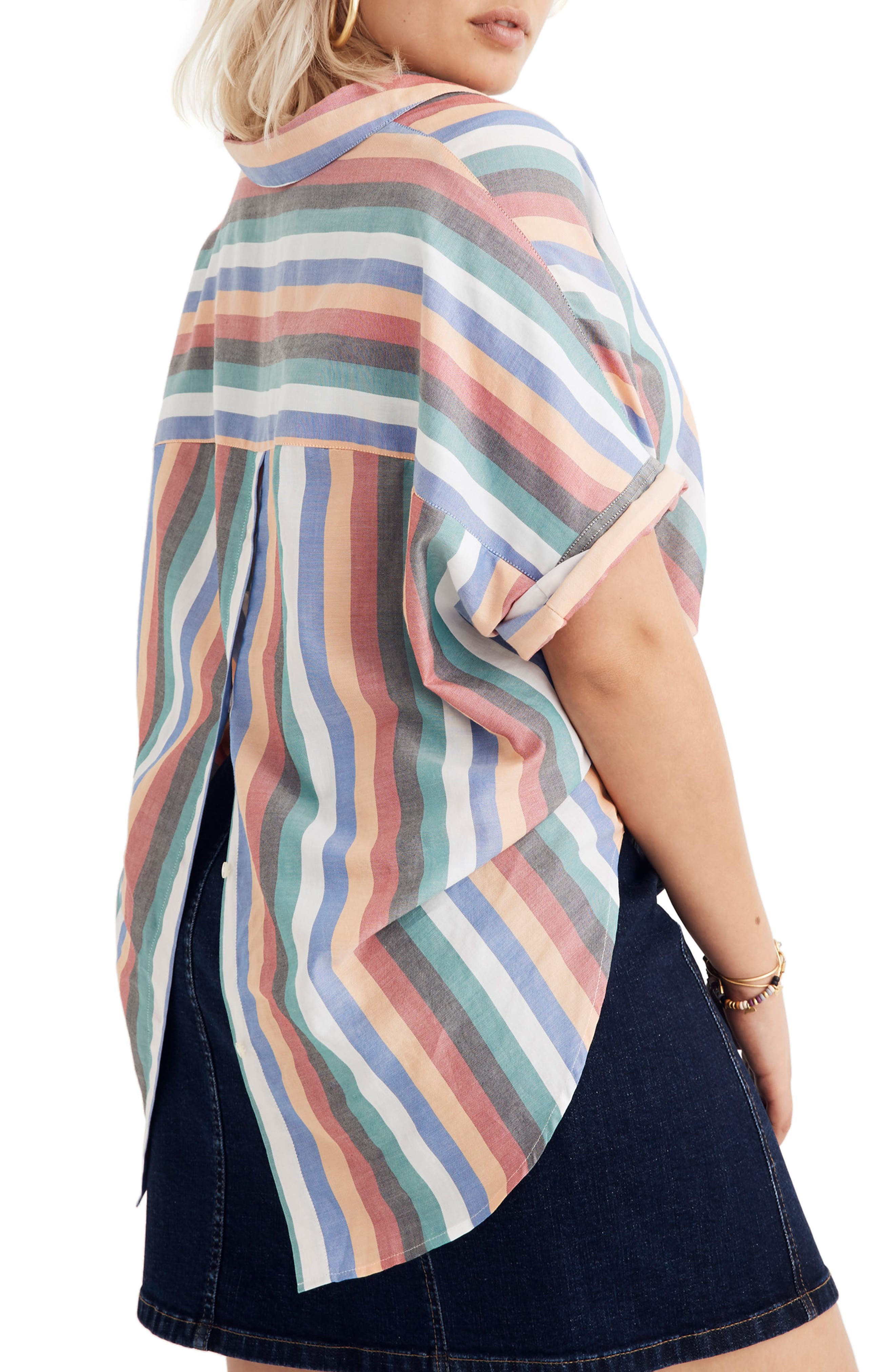 Courier Button Back Shirt,                             Alternate thumbnail 7, color,                             MULTI STRIPE