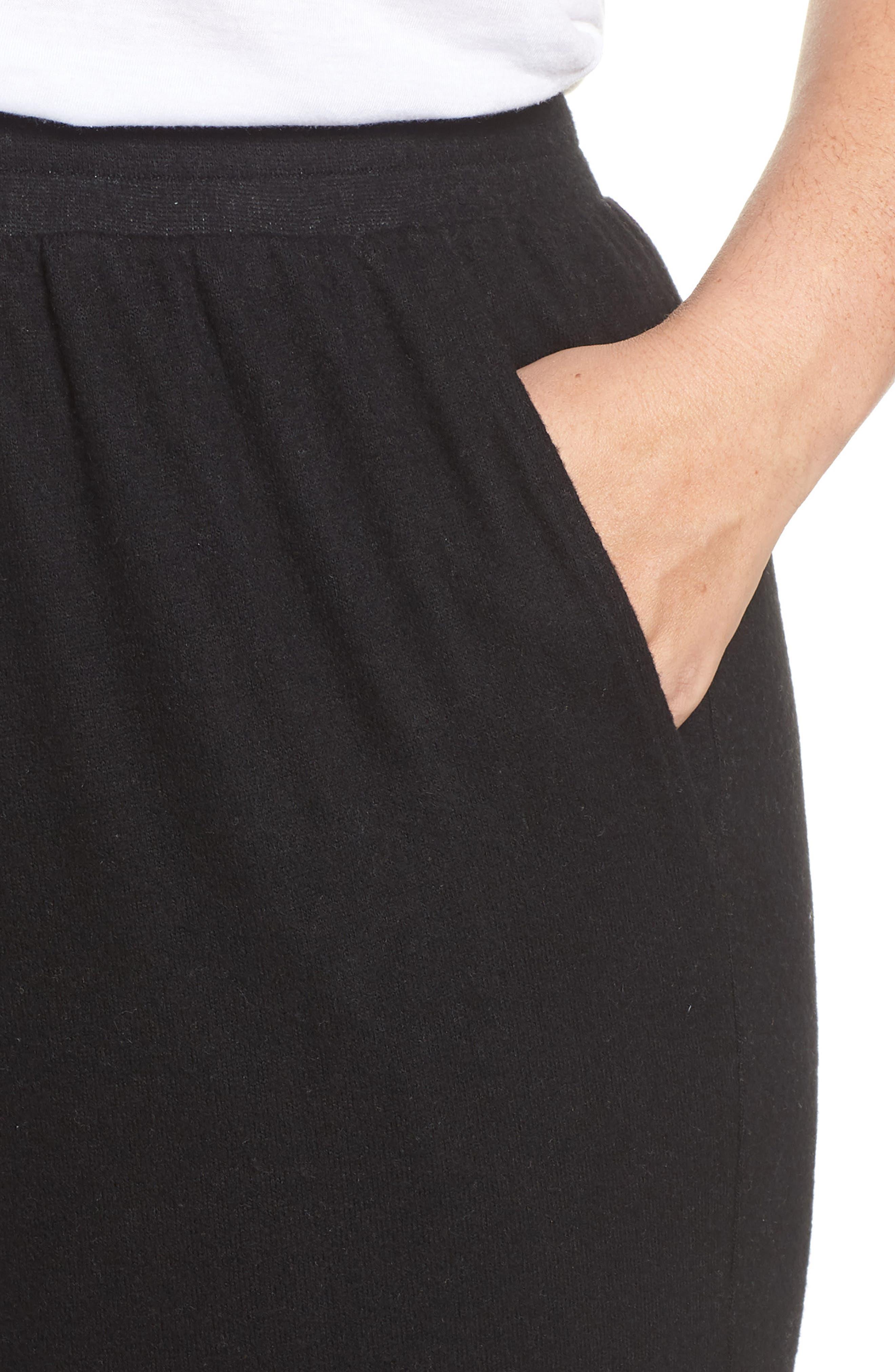 High Rise Wide Leg Knit Crop Pants,                             Alternate thumbnail 4, color,                             BLACK