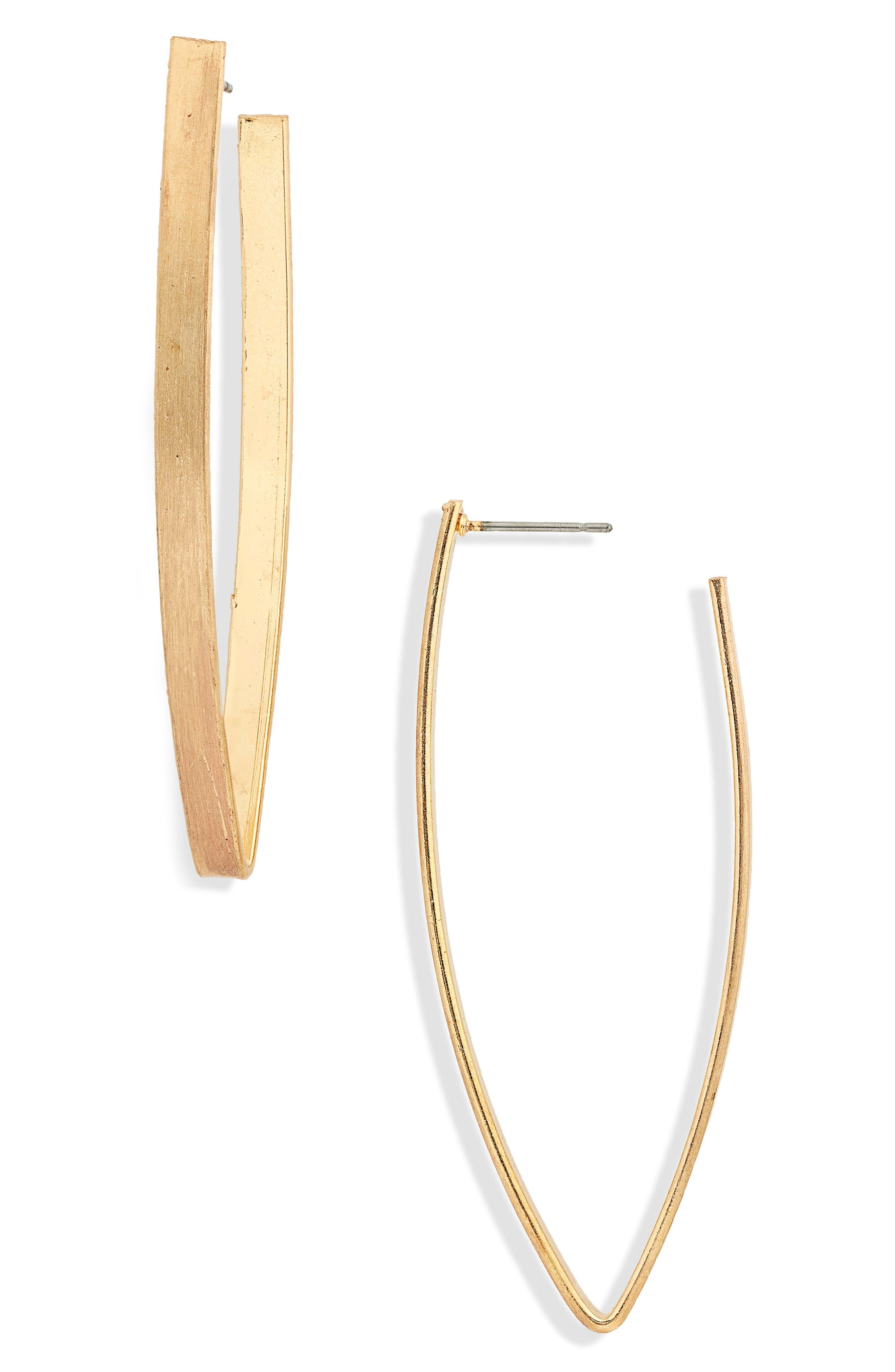 V-Shape Hoop Earrings,                             Main thumbnail 1, color,
