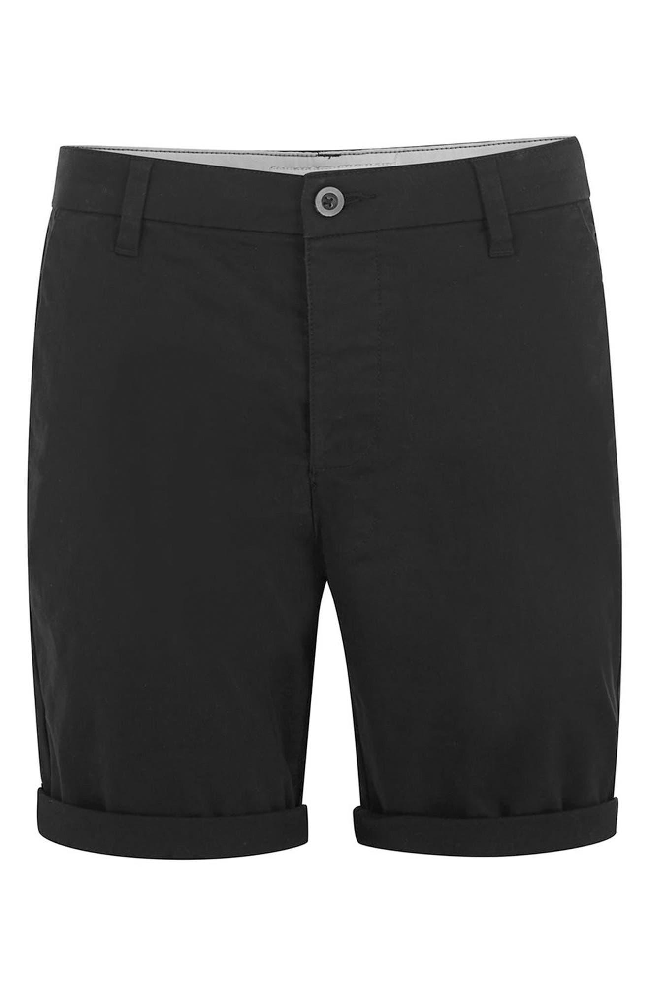 TOPMAN,                             Skinny Fit Chino Shorts,                             Alternate thumbnail 4, color,                             BLACK