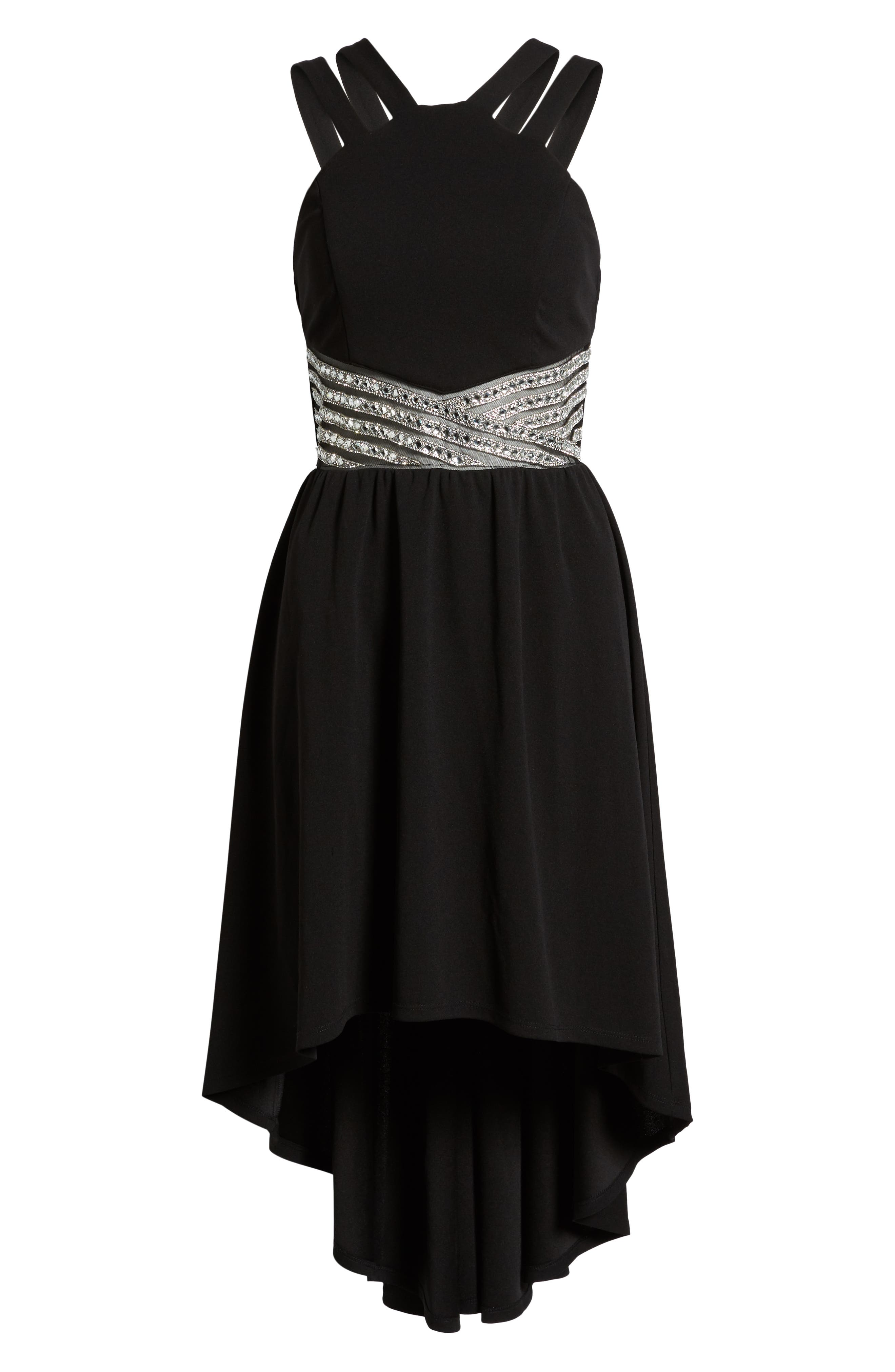 LOVE, NICKIE LEW,                             High/Low Jeweled Waist Dress,                             Alternate thumbnail 7, color,                             001