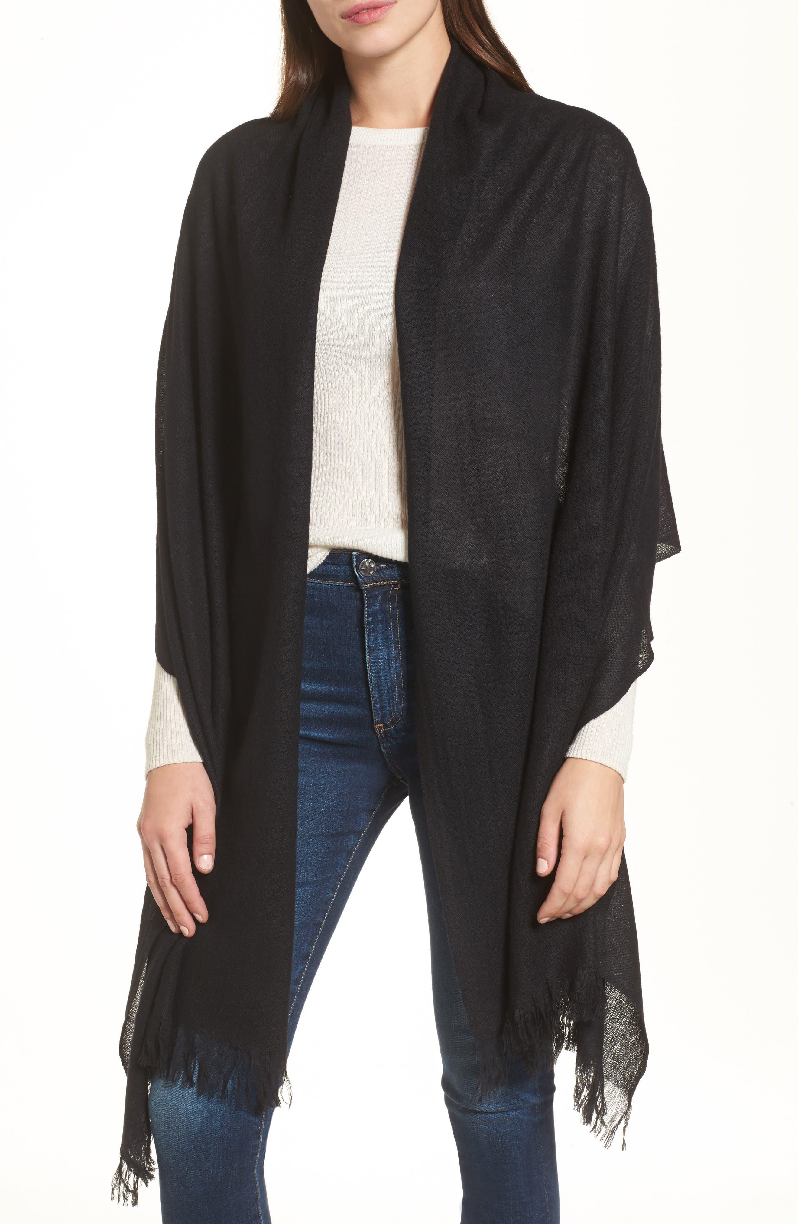 Caslon<sup>®</sup> Heathered Cashmere Gauze Scarf,                         Main,                         color, BLACK