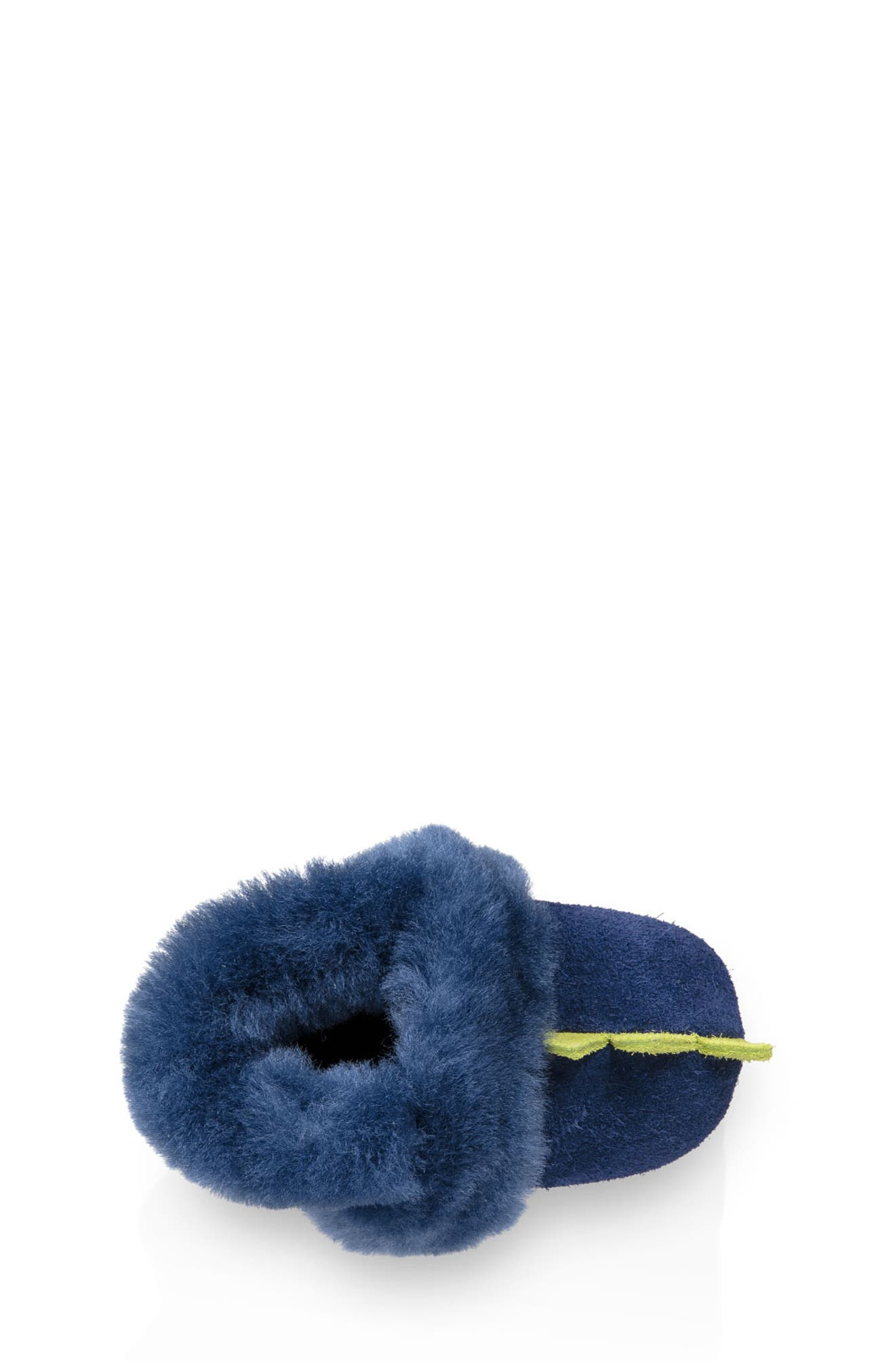 Dydo Solvi Genuine Shearling Cuffed Bootie,                             Alternate thumbnail 4, color,                             NAVY / BRIGHT CHARTREUSE