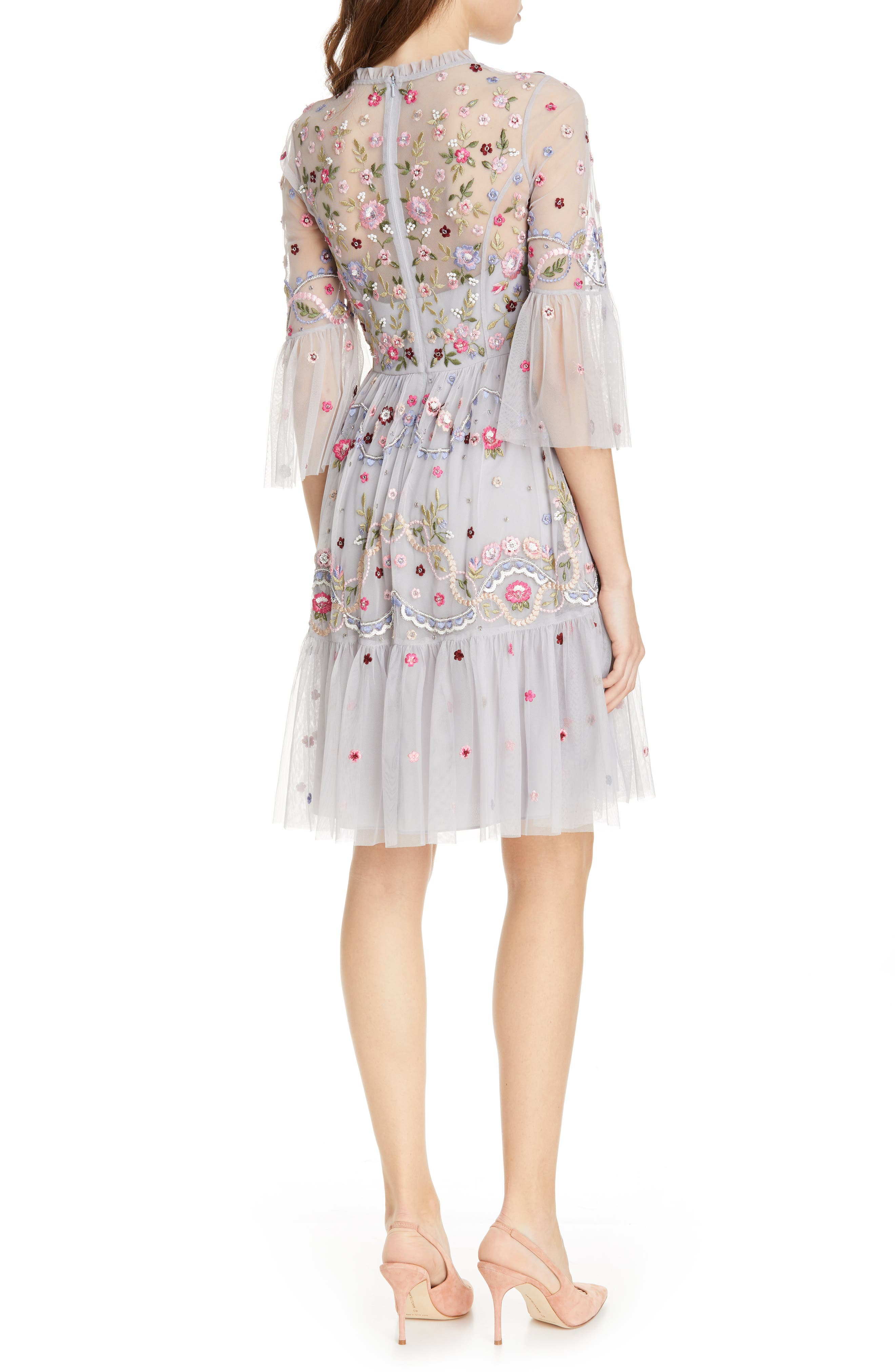 NEEDLE & THREAD,                             Dreamers Embroidered Tulle Dress,                             Alternate thumbnail 2, color,                             DUSK BLUE
