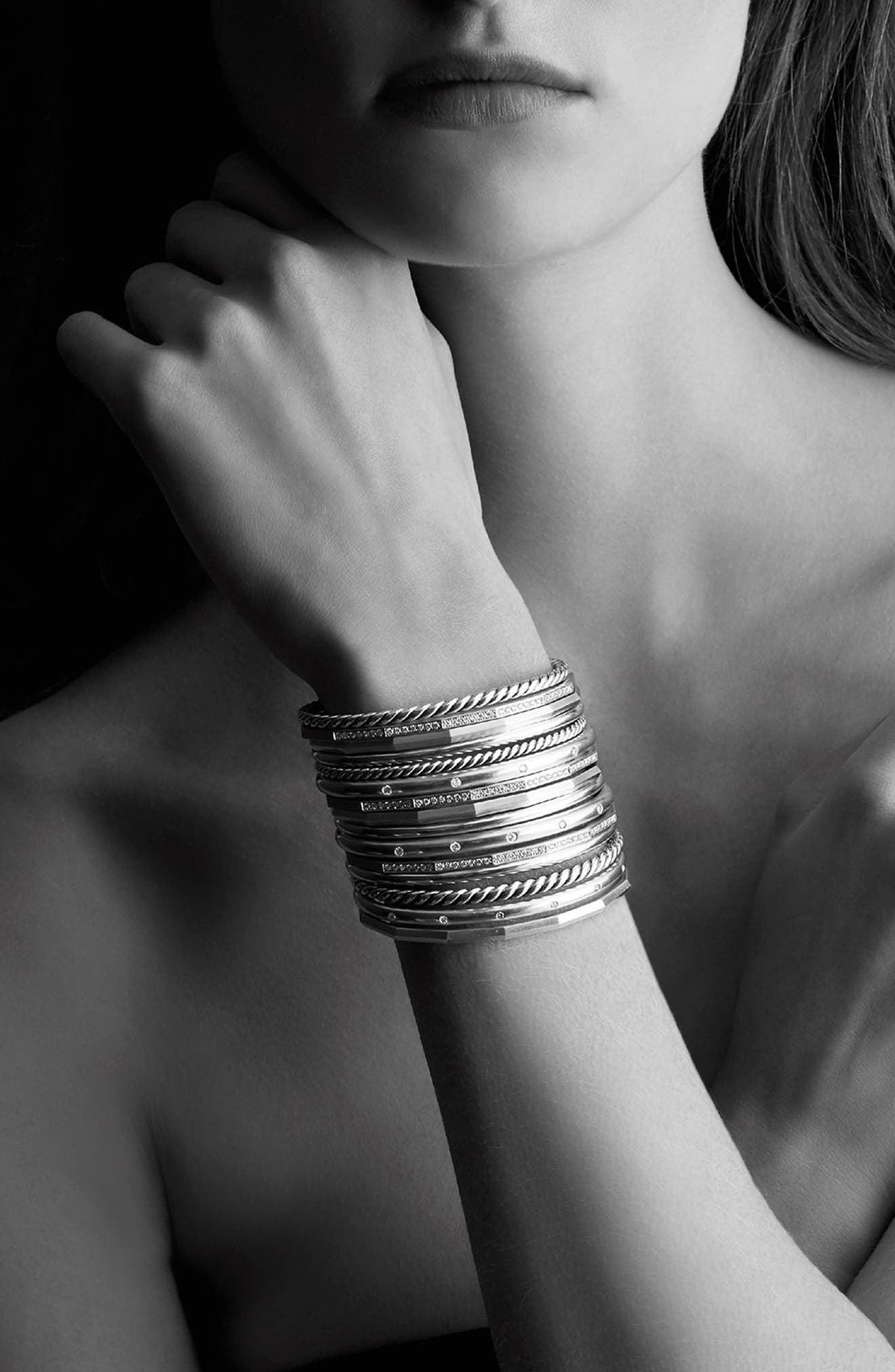 Stax Wide Cuff Bracelet with Diamonds, 54mm,                             Alternate thumbnail 2, color,                             SILVER