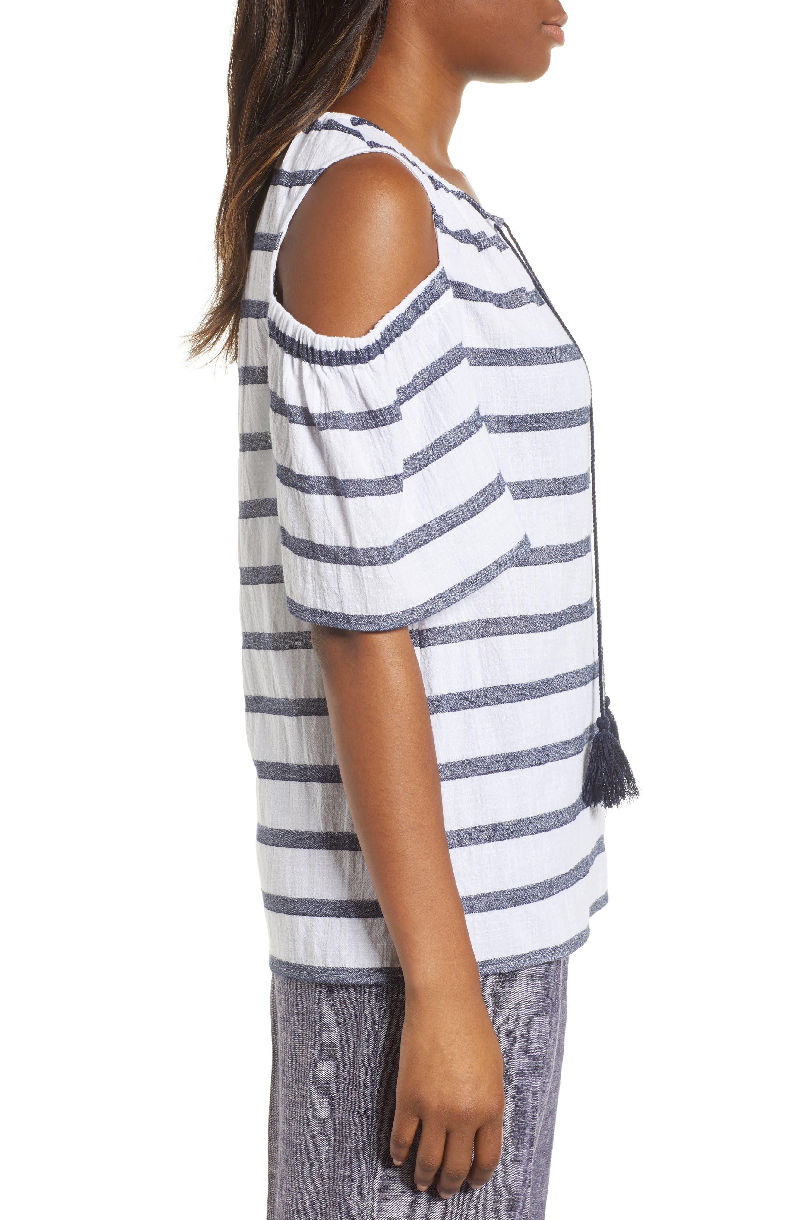 Stripe Cold Shoulder Cotton Gauze Top,                             Alternate thumbnail 3, color,                             NEW IVORY