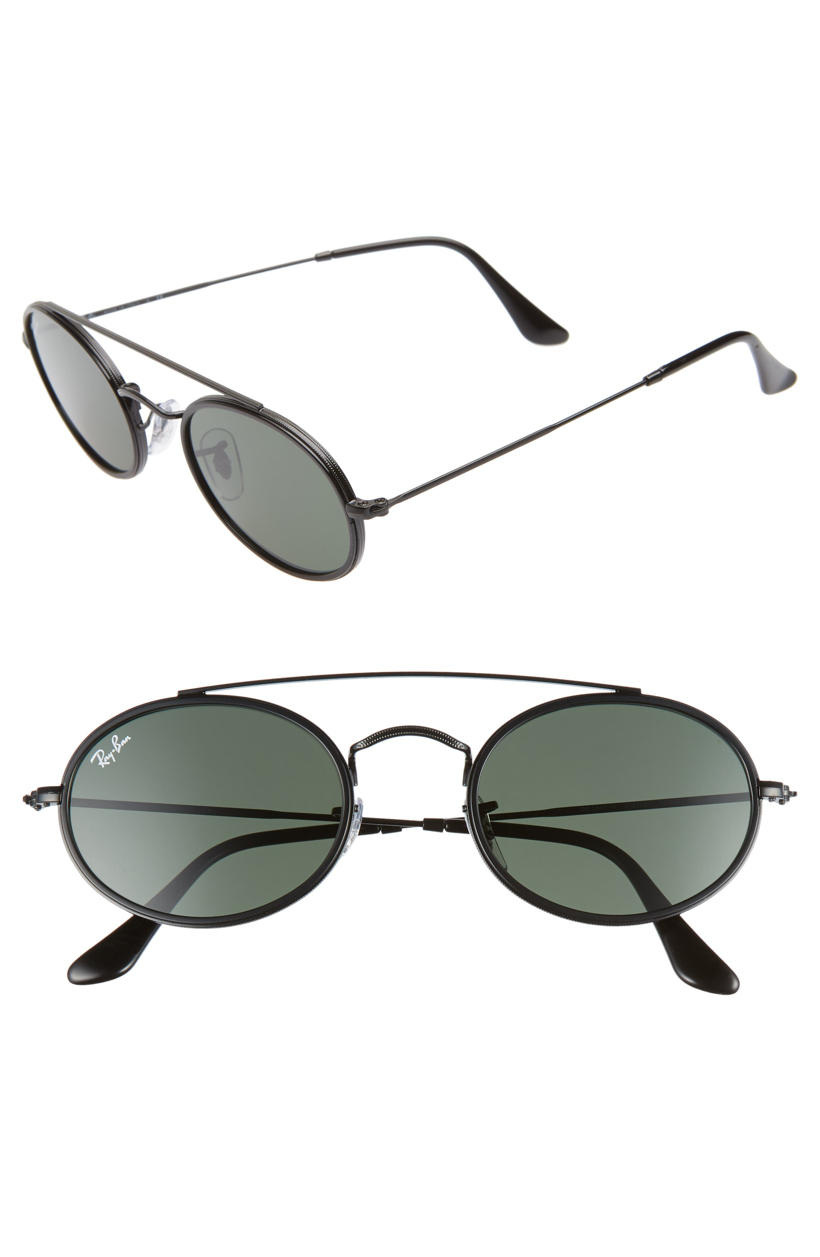 RAY-BAN,                             Elite 52mm Oval Sunglasses,                             Main thumbnail 1, color,                             GOLD/ GREEN SOLID