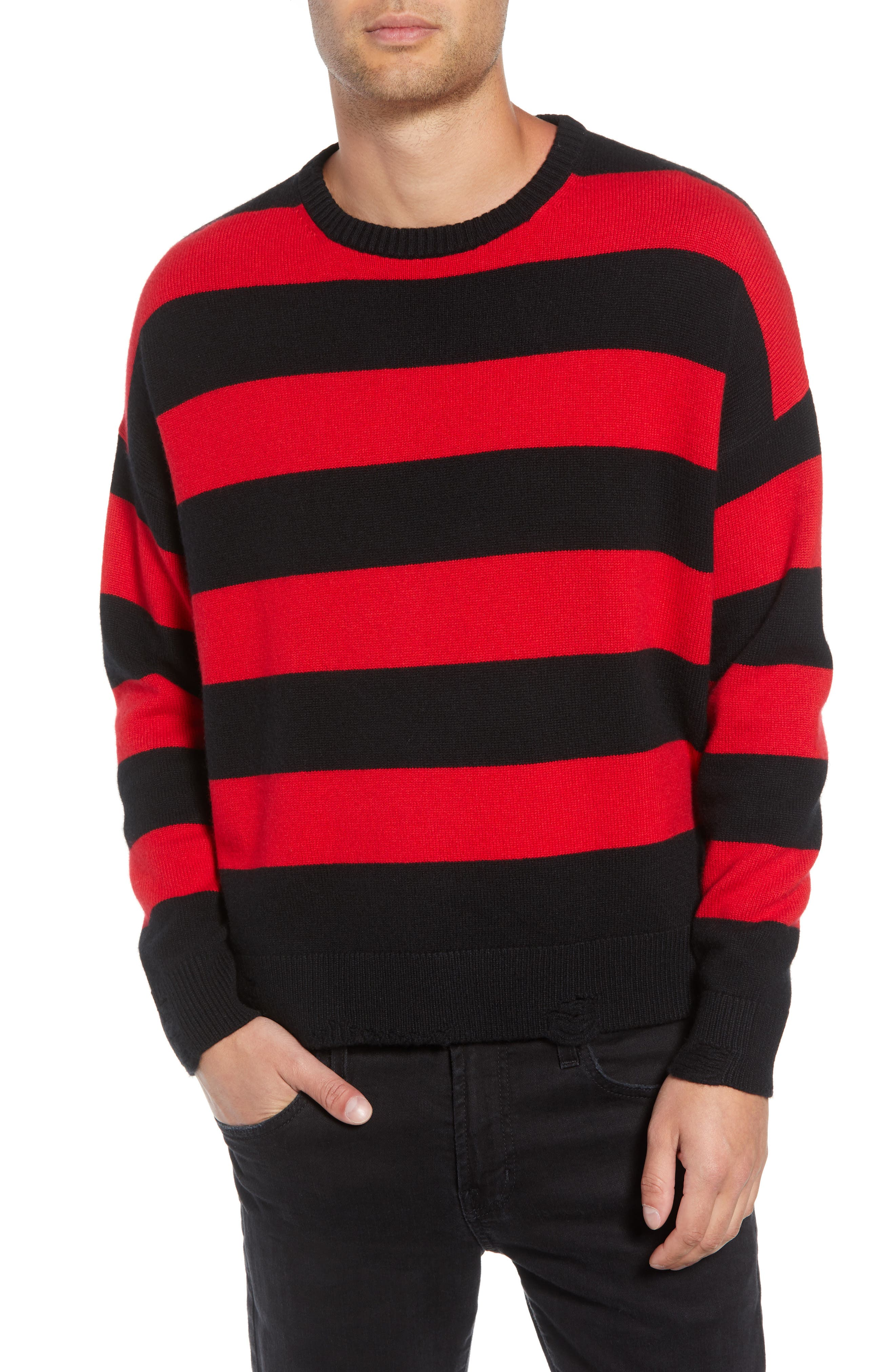 Shredded Stripe Sweater,                             Main thumbnail 1, color,                             RED/ BLACK