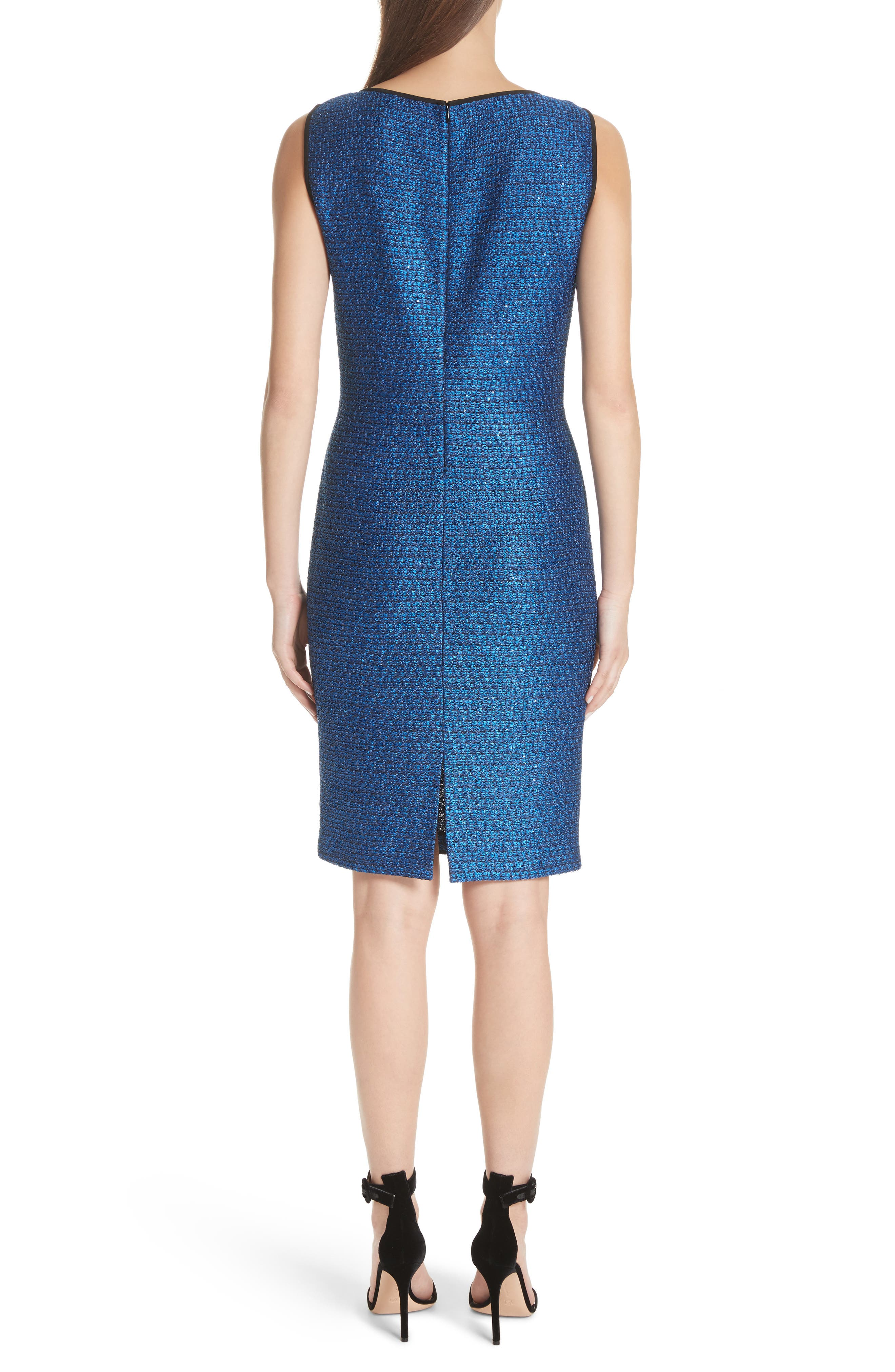 Luster Sequin Knit Dress,                             Alternate thumbnail 2, color,                             COBALT MULTI