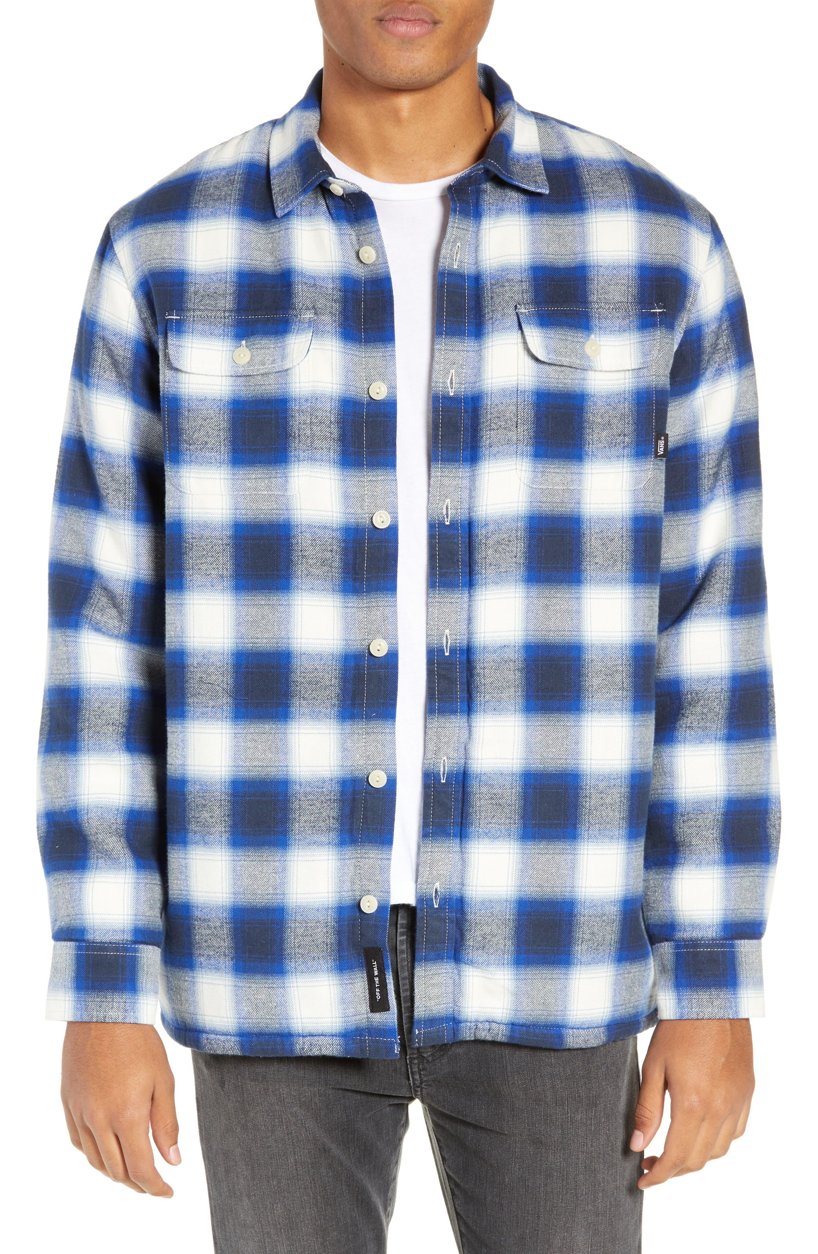 Vans Loomis Plaid Fleece Lined Shirt Jacket, Ivory