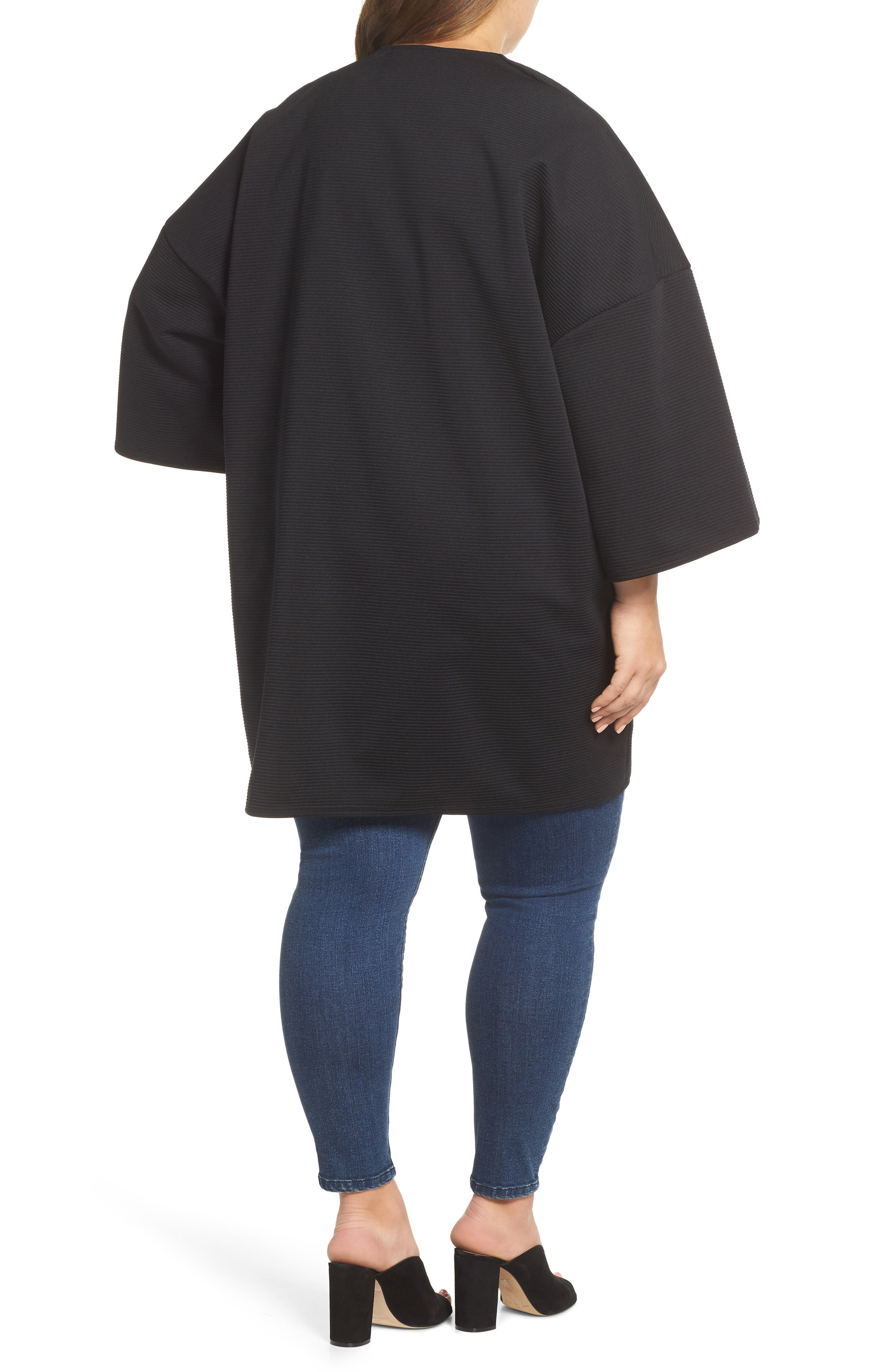 The Lacquer Bonded Jersey Kimono,                             Alternate thumbnail 2, color,                             001