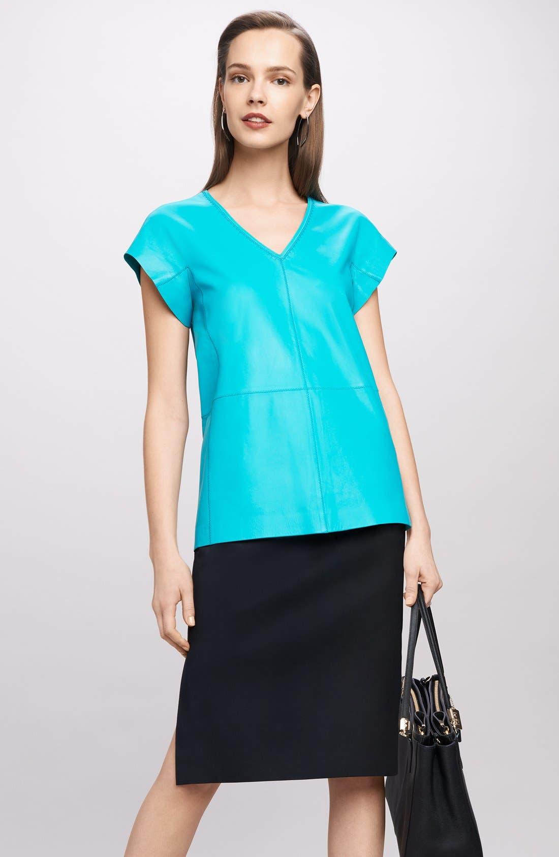 Stretch Wool Pencil Skirt,                             Alternate thumbnail 9, color,                             BLACK