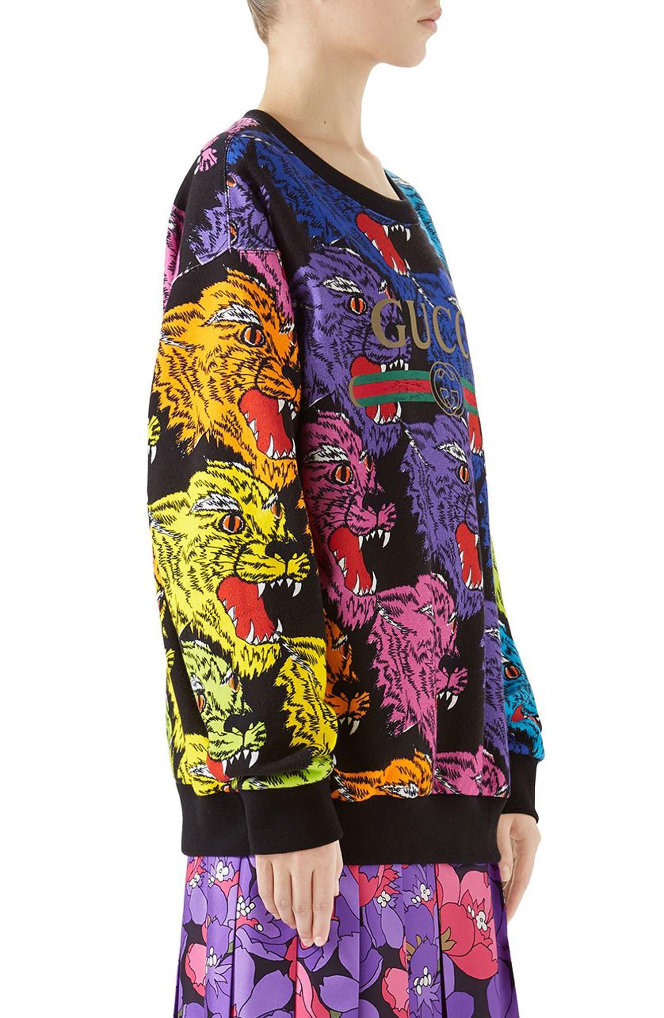 Multicolor Cat Sweatshirt,                             Alternate thumbnail 3, color,                             RAINBOW