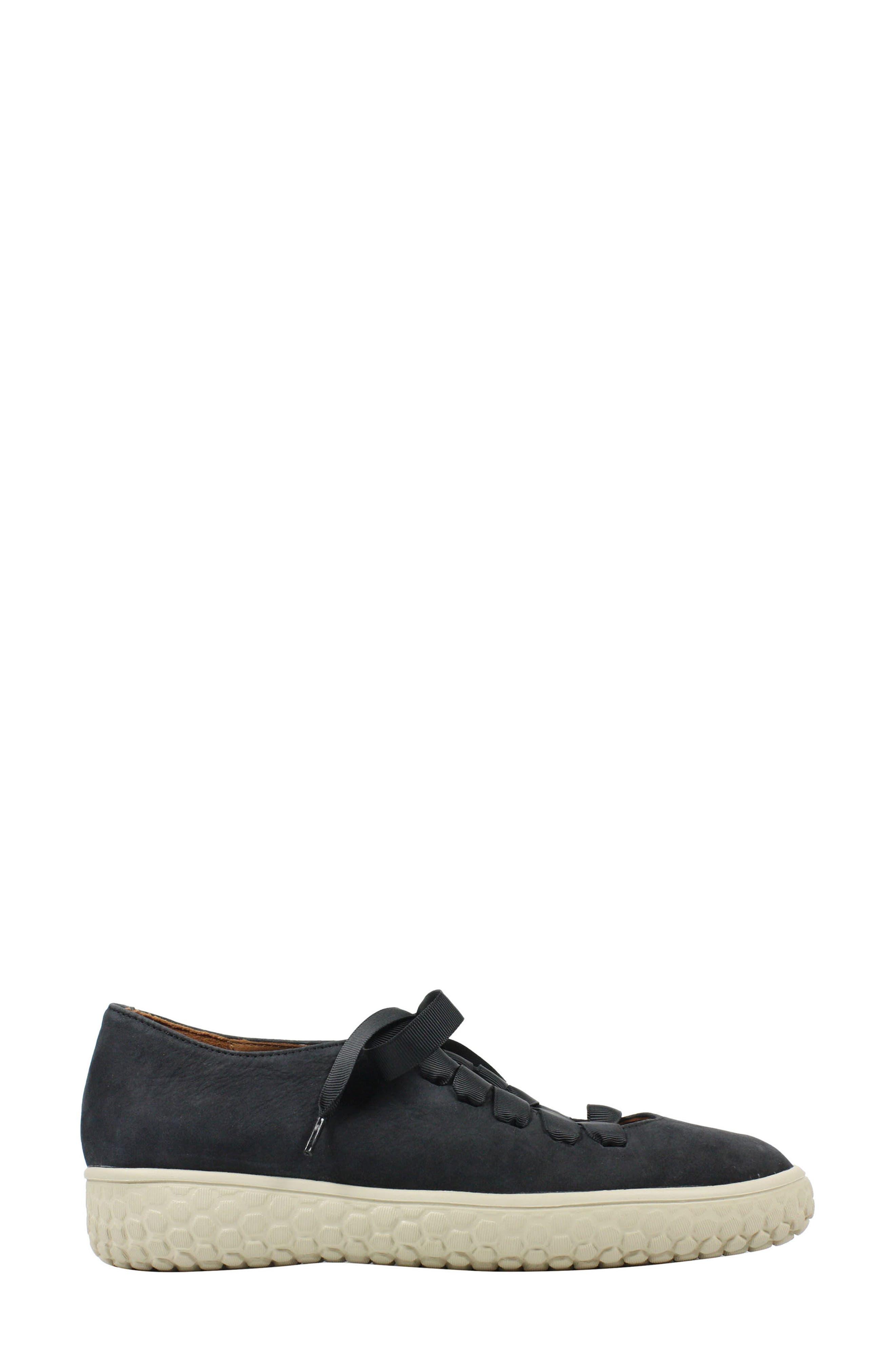 Zaheera Sneaker,                             Alternate thumbnail 3, color,                             BLACK NUBUCK LEATHER