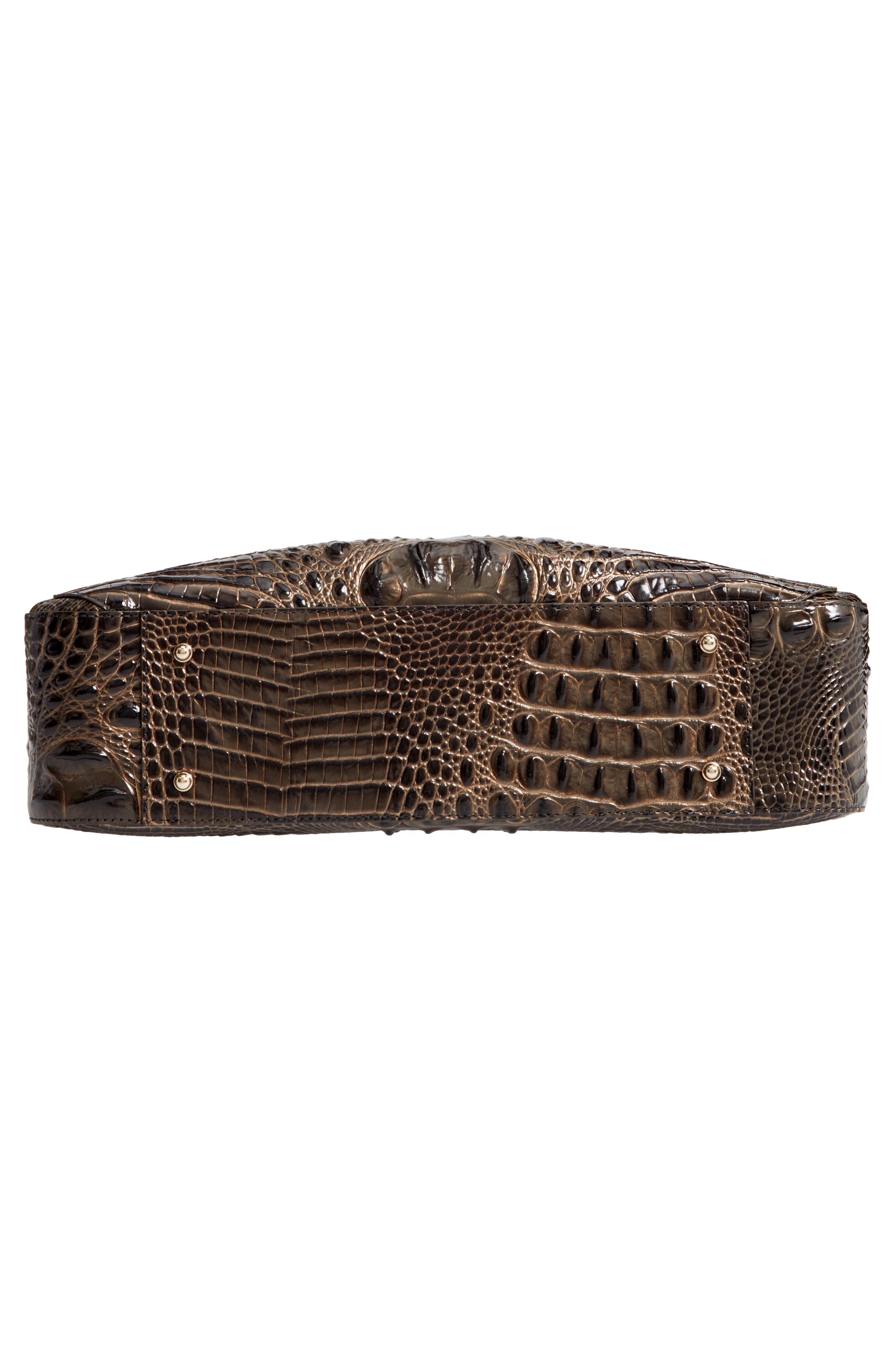 Melbourne - Adina Croc Embossed Leather Satchel,                             Alternate thumbnail 6, color,                             GRAPHITE
