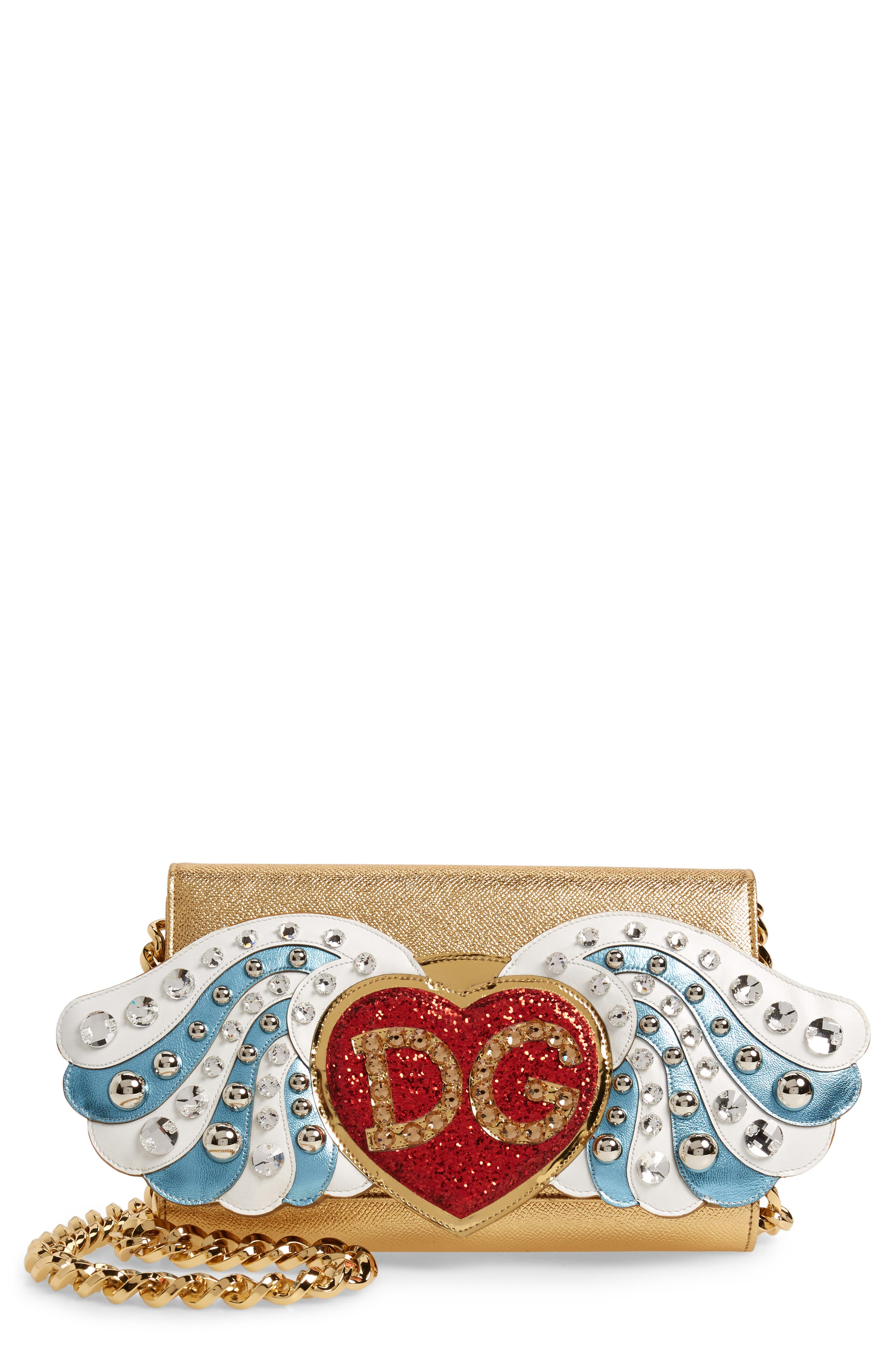 WOC Angel Patch Leather Clutch,                         Main,                         color, GOLD