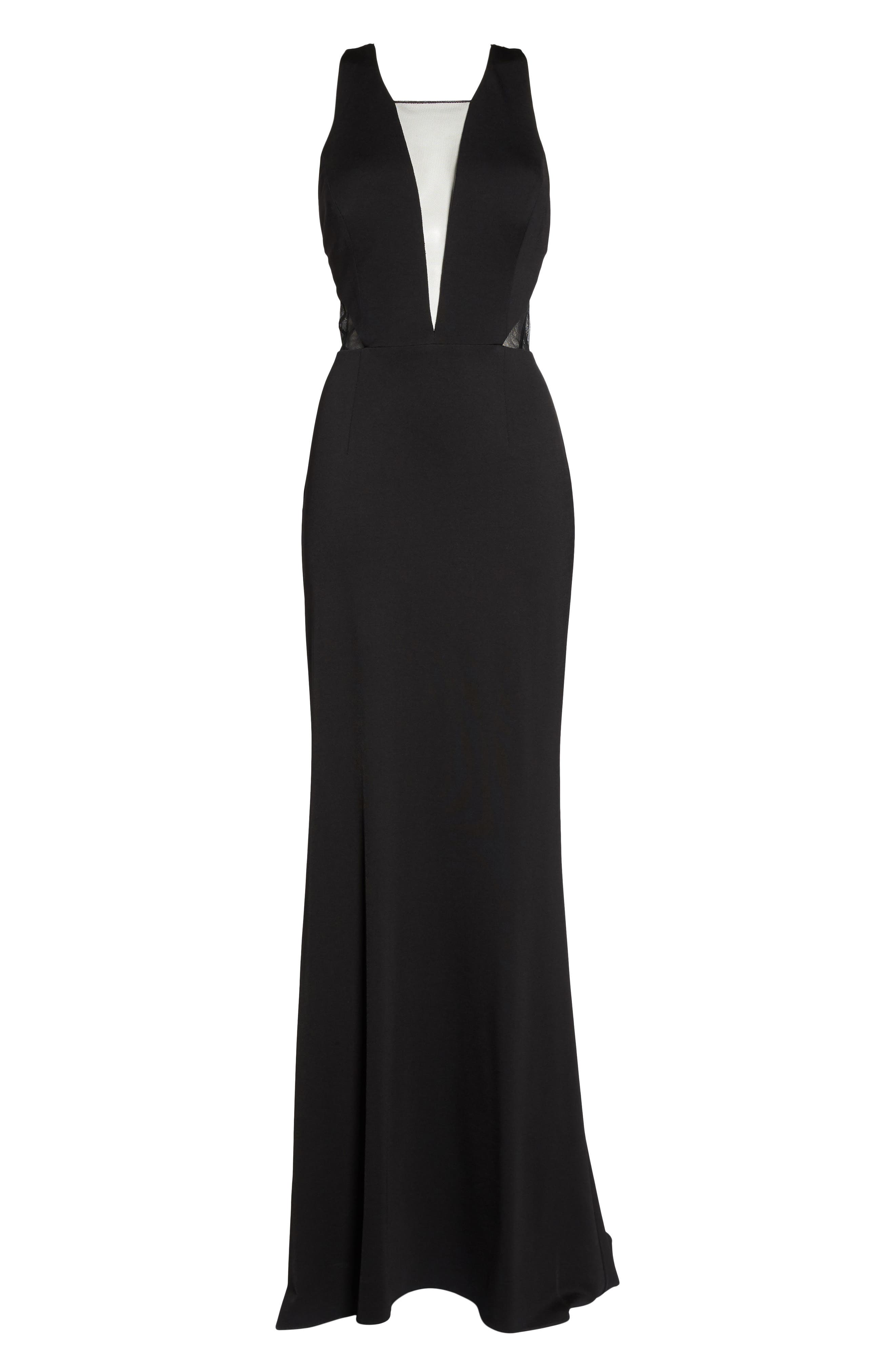 Lola Crossback Jersey Halter Gown,                             Alternate thumbnail 6, color,