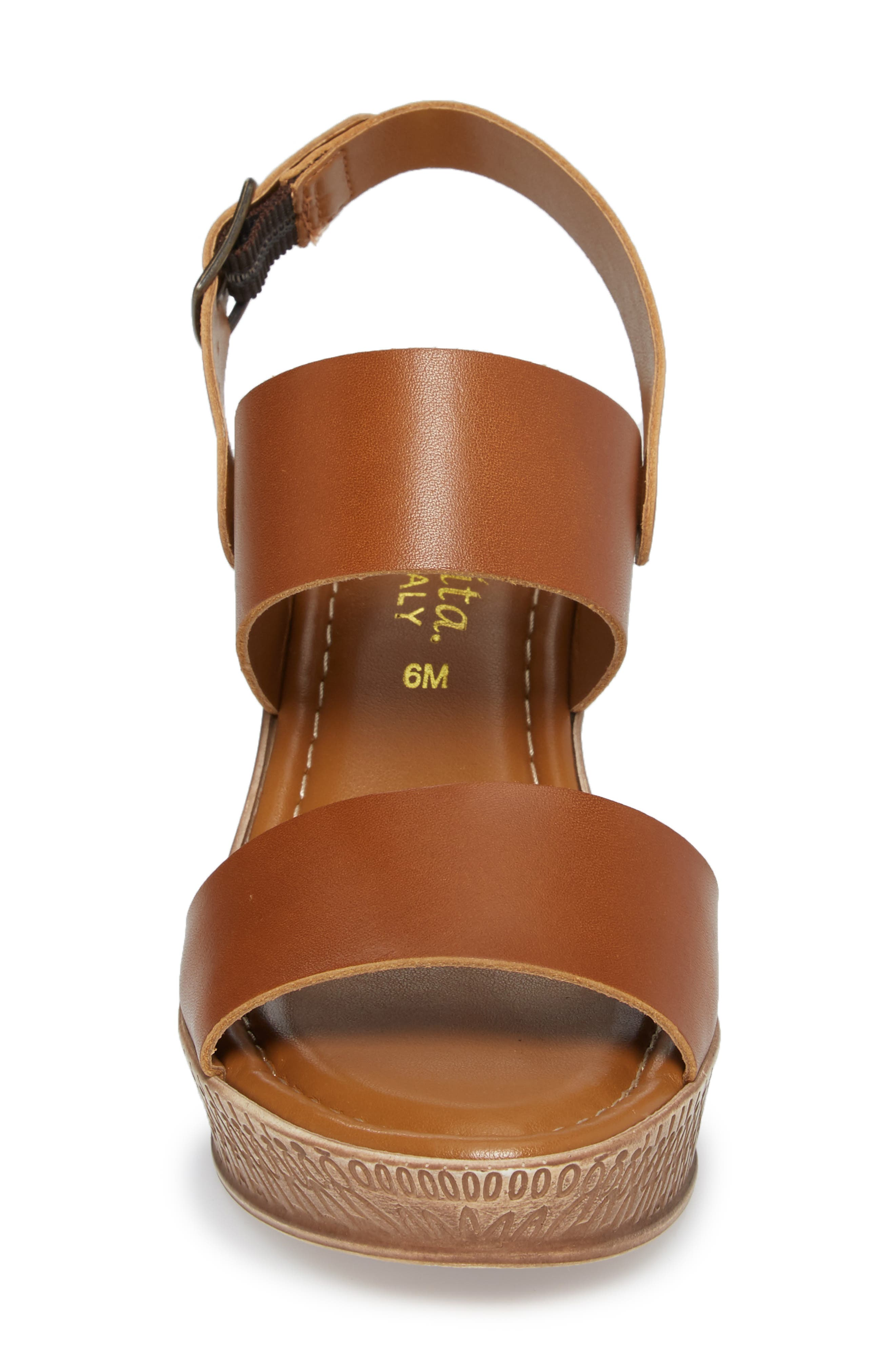Cor Wedge Sandal,                             Alternate thumbnail 4, color,                             WHISKEY LEATHER