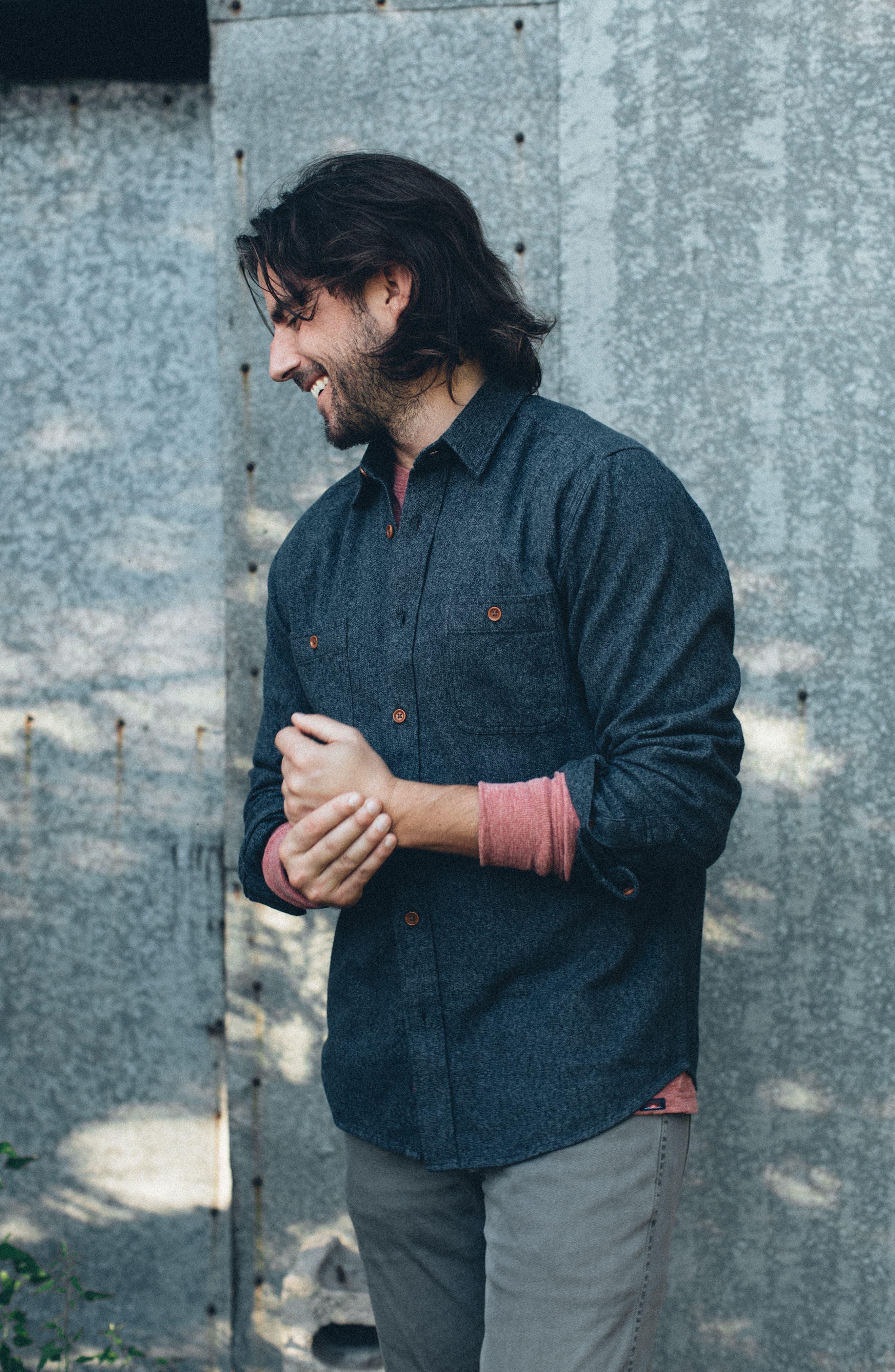 Seasons Organic Cotton Flannel Sport Shirt,                             Alternate thumbnail 6, color,                             WASHED BLACK
