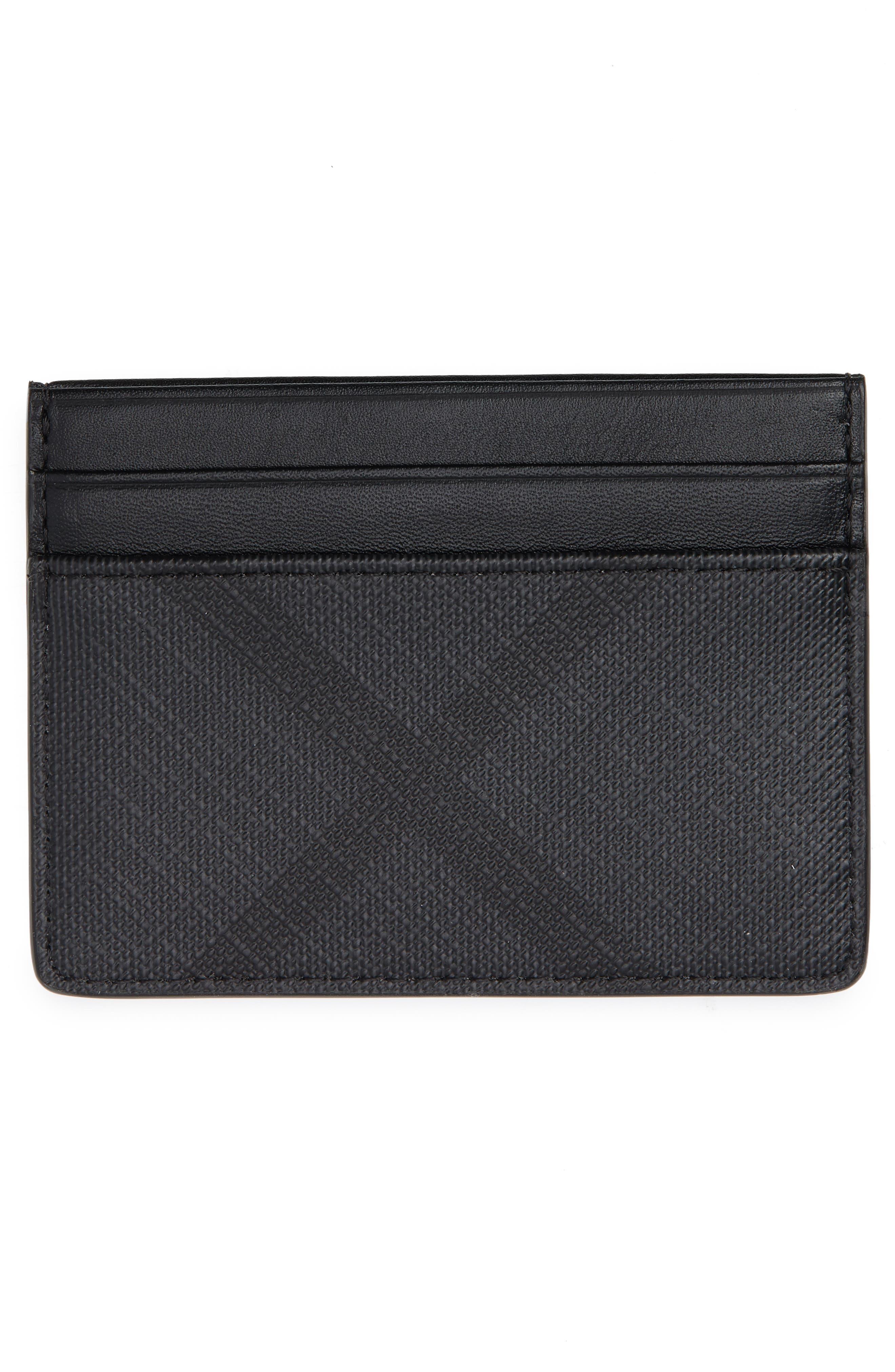 Sandon Check Faux Leather Card Case,                             Alternate thumbnail 2, color,                             CHARCOAL/ BLACK