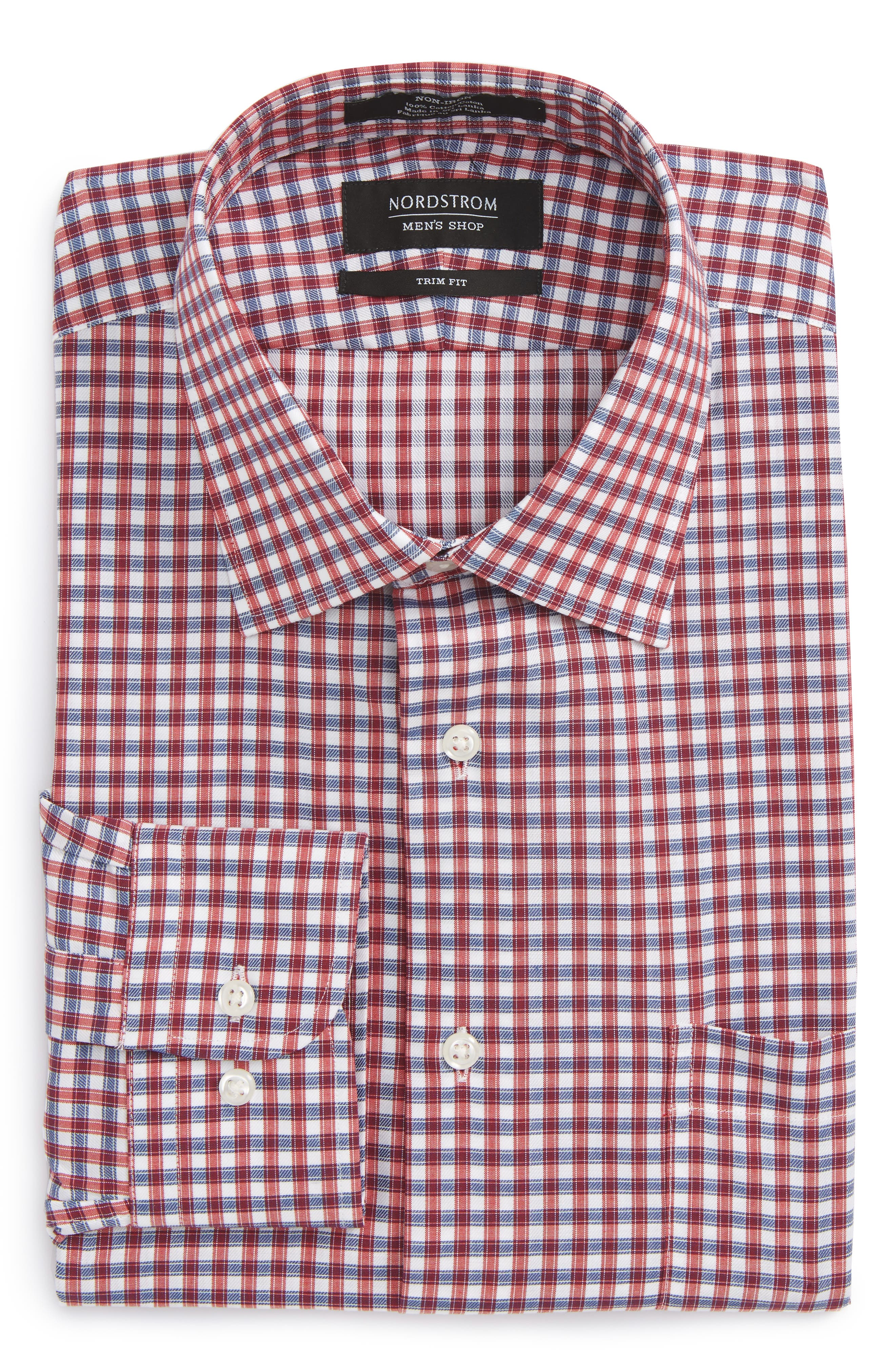 Trim Fit Non-Iron Check Dress Shirt,                             Alternate thumbnail 9, color,
