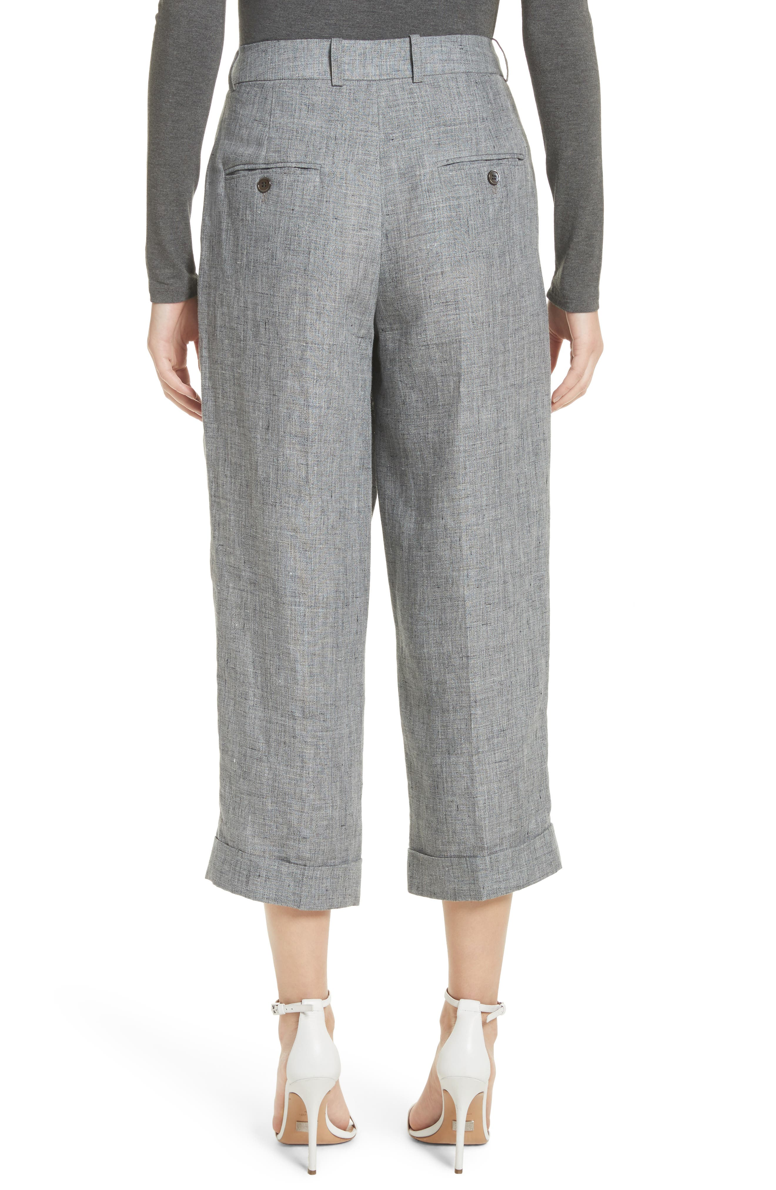 Cross Front Linen Crop Trousers,                             Alternate thumbnail 2, color,                             020