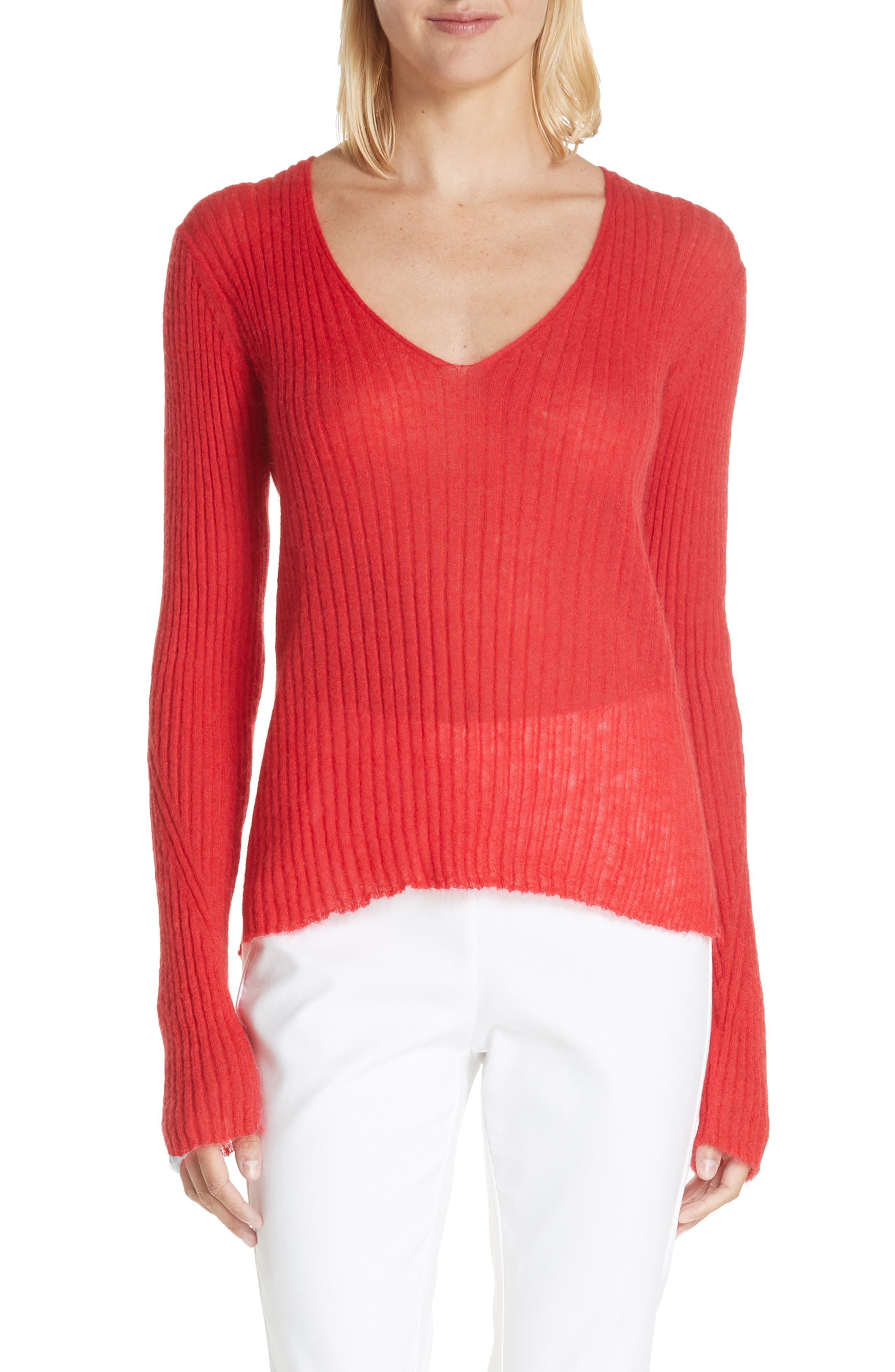 Donna Mohair & Wool Blend Sweater,                             Main thumbnail 1, color,                             RED