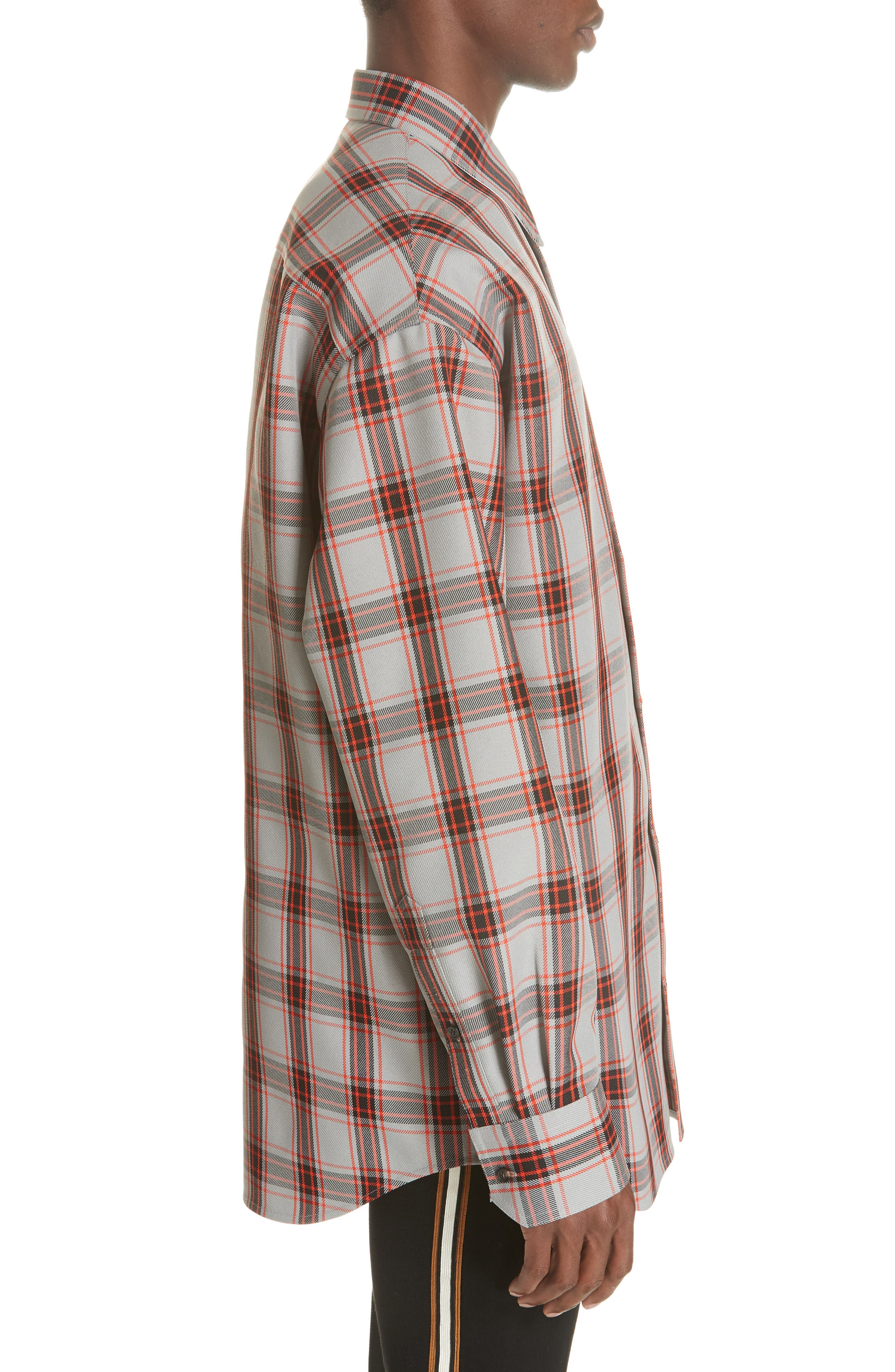 Oversize Plaid Twill Shirt,                             Alternate thumbnail 4, color,                             GREY/ RED