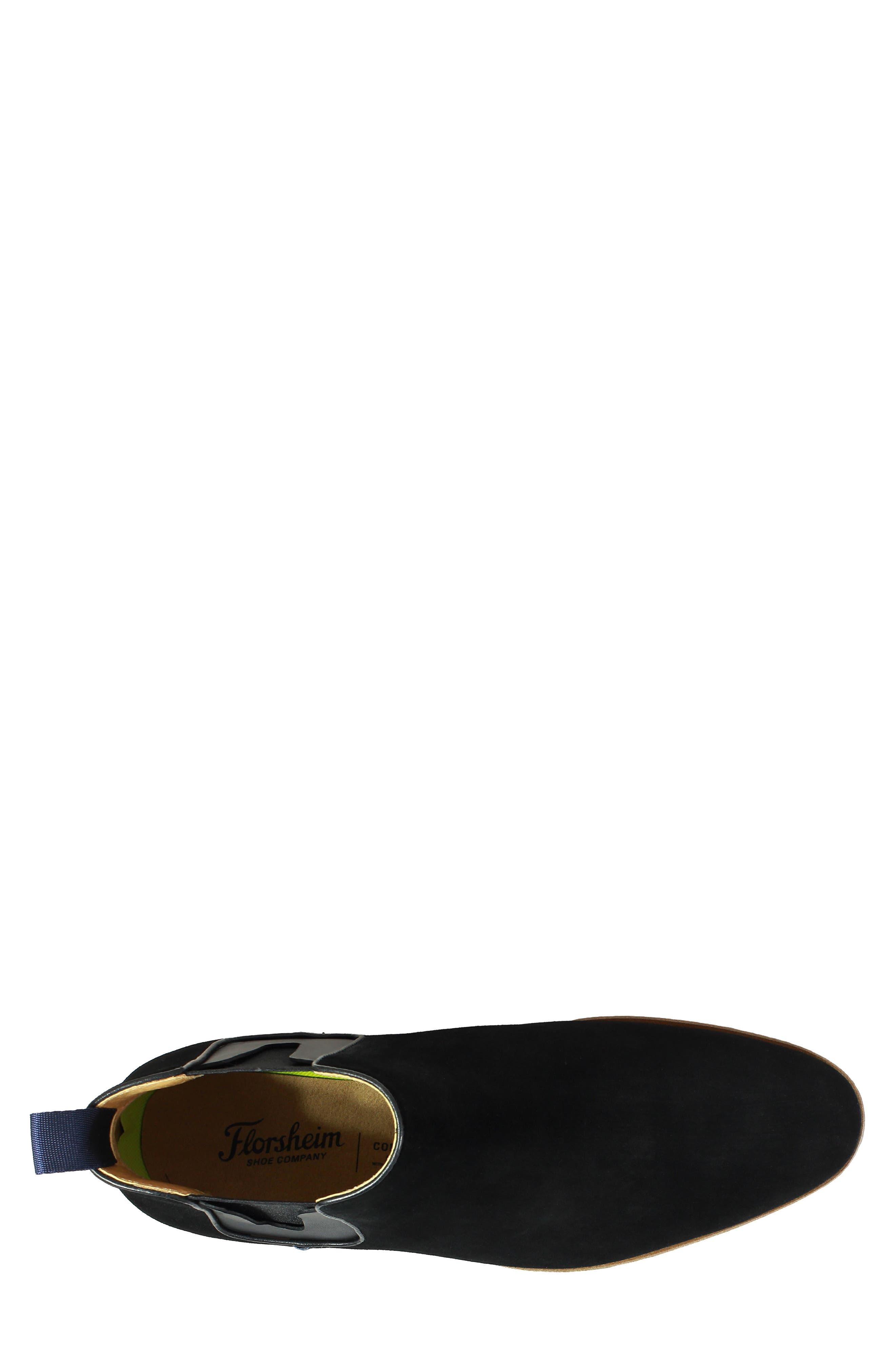 Uptown Plain Toe Mid Chelsea Boot,                             Alternate thumbnail 5, color,                             BLACK SUEDE