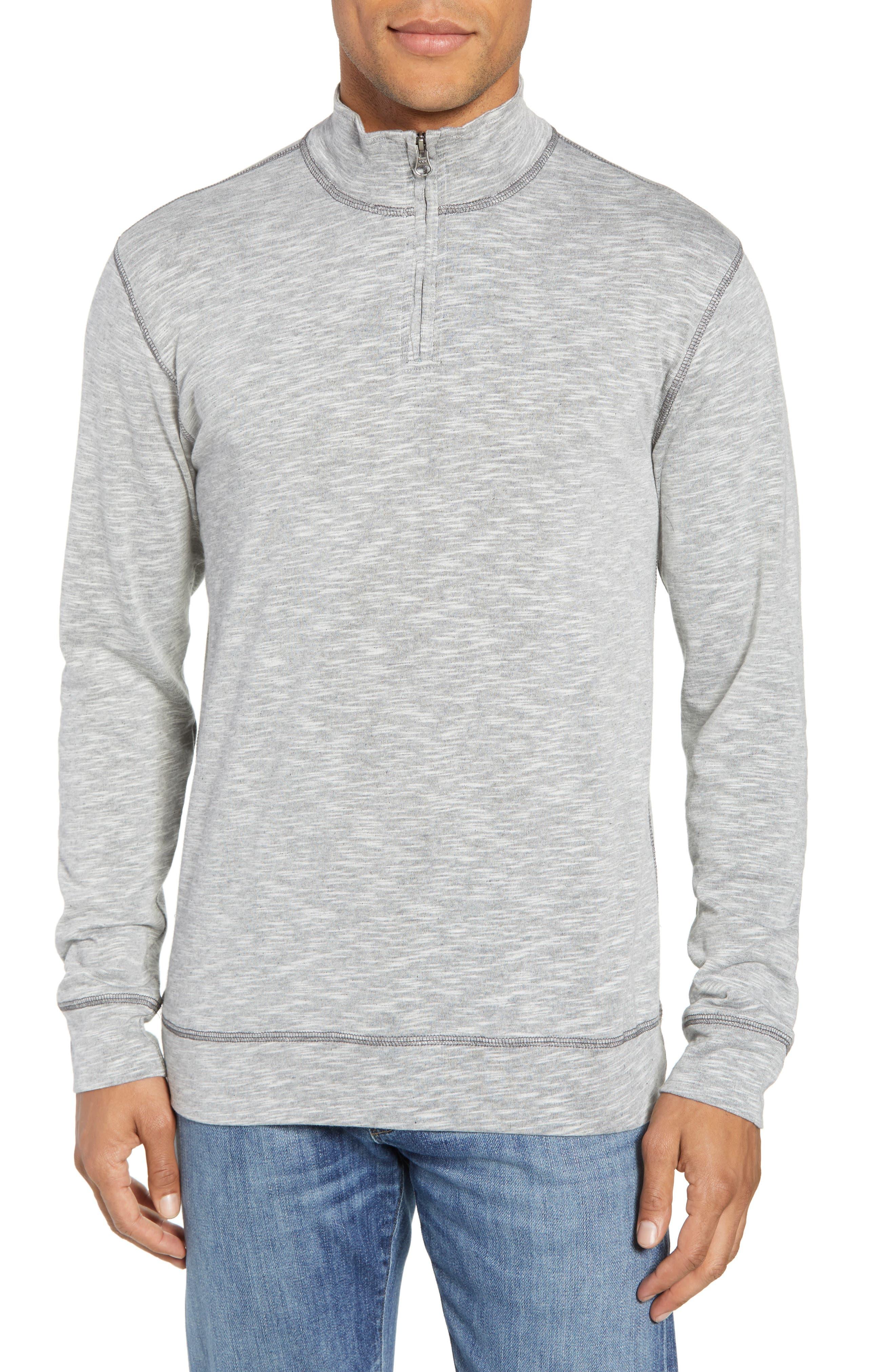Vintage 1946 Space Dyed Quarter-Zip Shirt, Grey