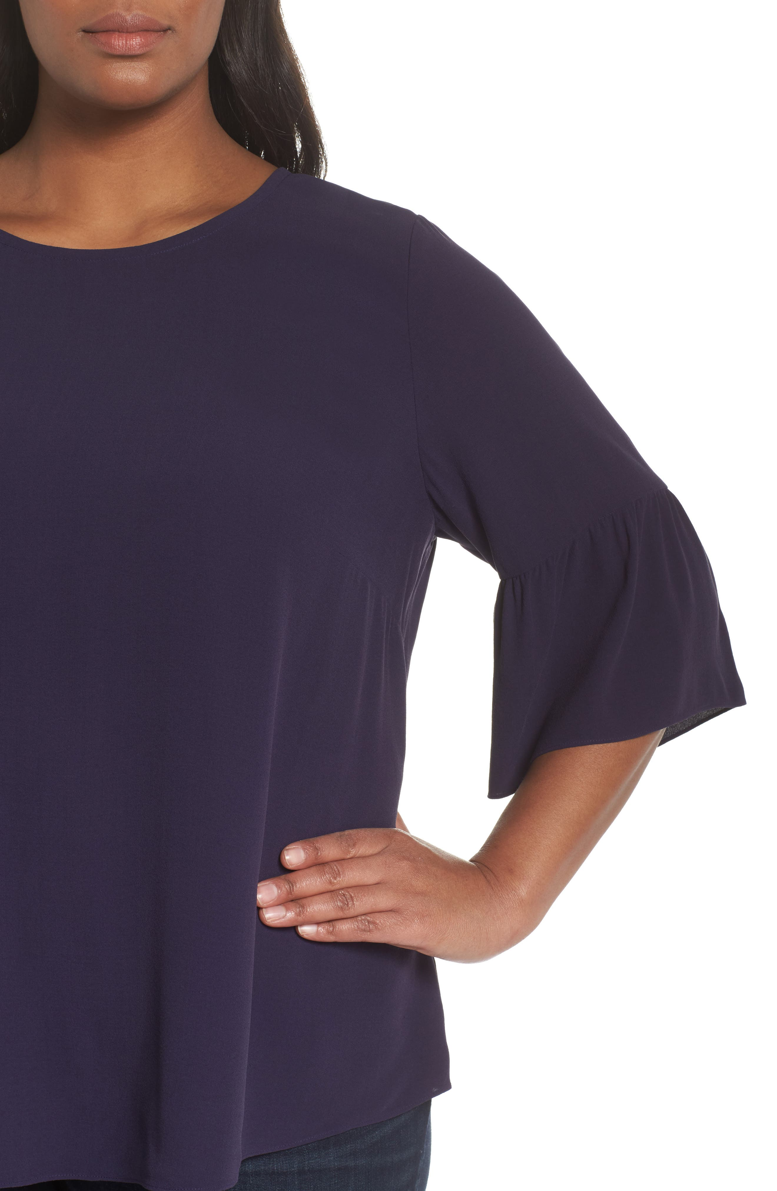 Ruffled Sleeve Silk Top,                             Alternate thumbnail 13, color,